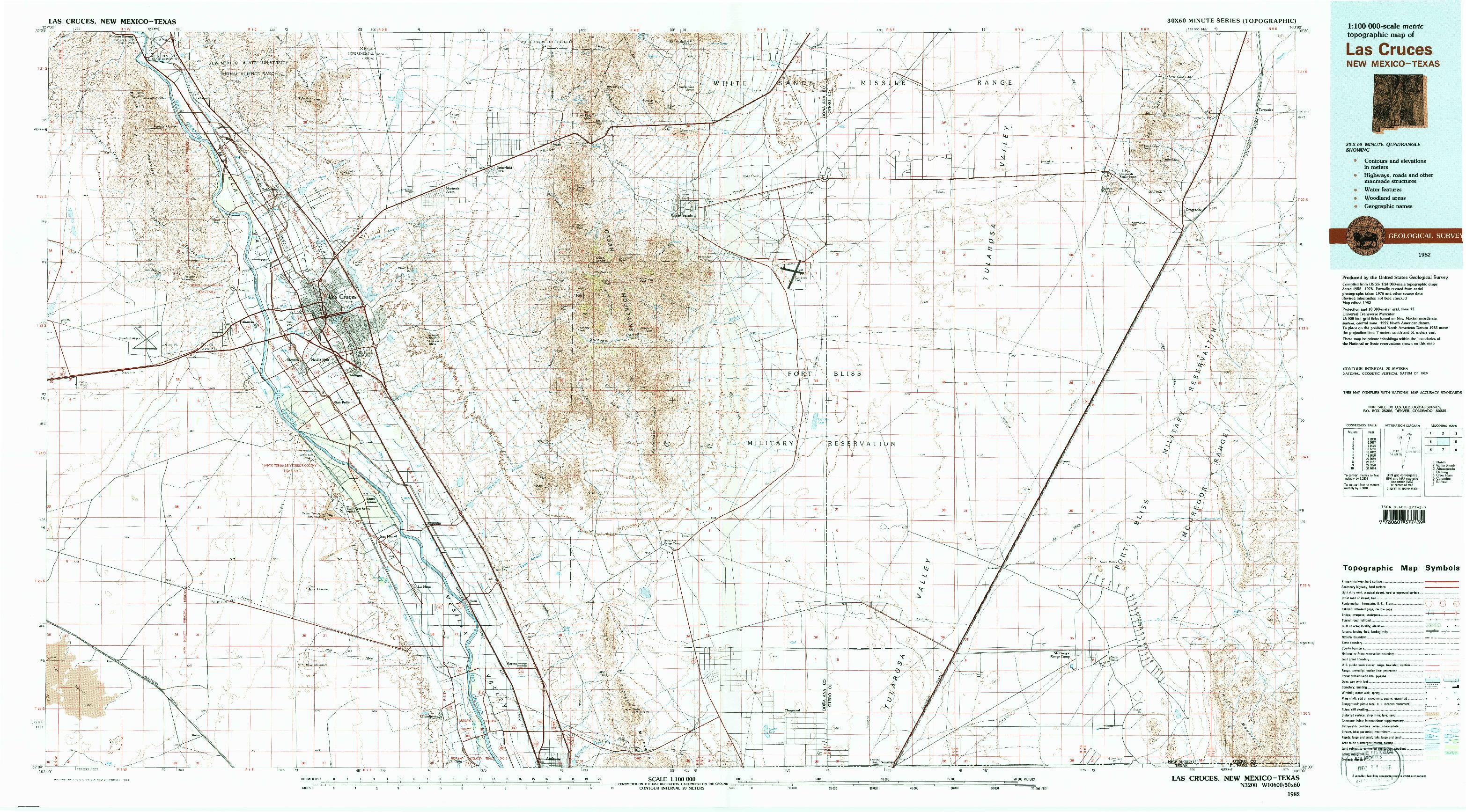 USGS 1:100000-SCALE QUADRANGLE FOR LAS CRUCES, NM 1982