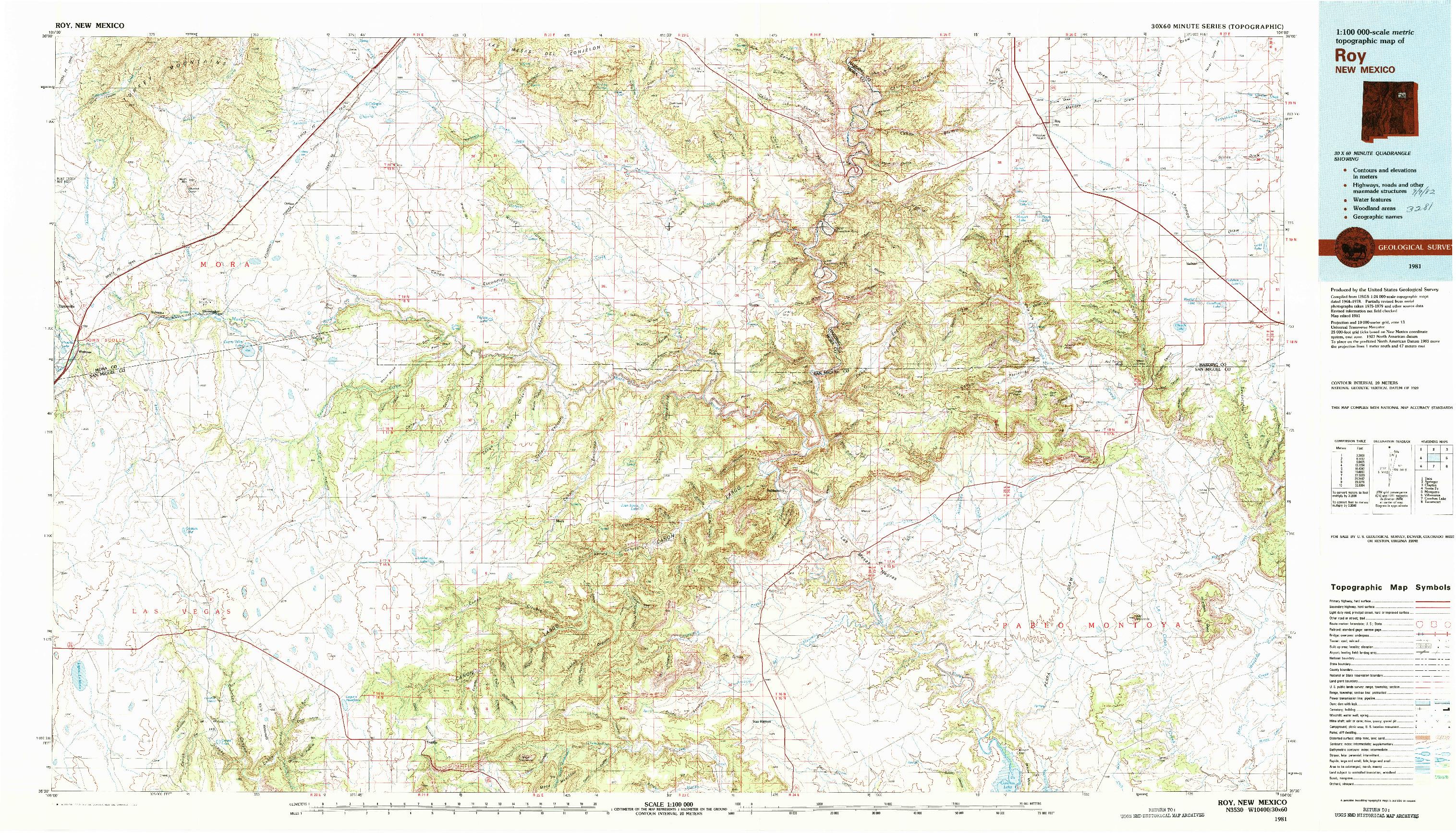 USGS 1:100000-SCALE QUADRANGLE FOR ROY, NM 1981