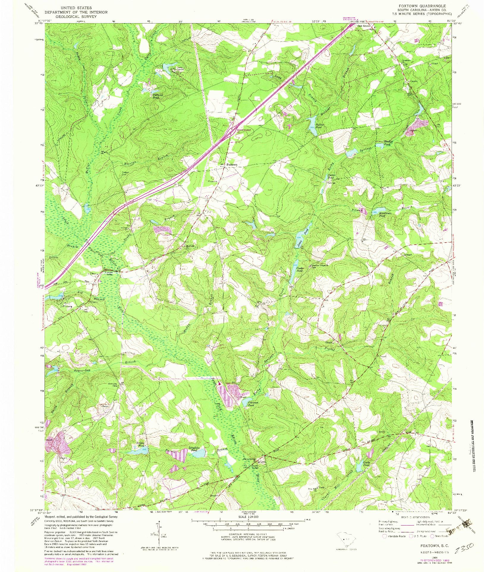 USGS 1:24000-SCALE QUADRANGLE FOR FOXTOWN, SC 1964
