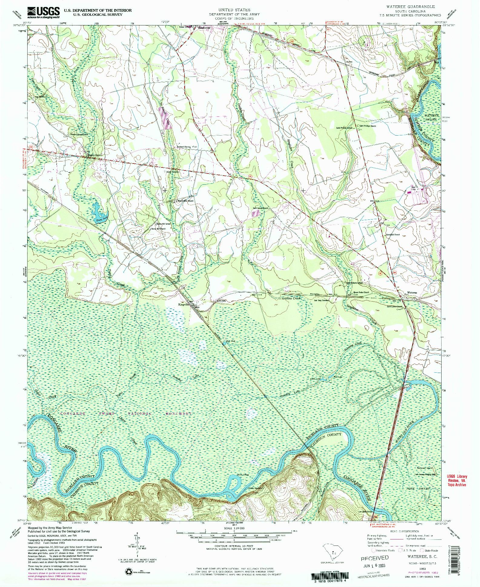 USGS 1:24000-SCALE QUADRANGLE FOR WATEREE, SC 1953