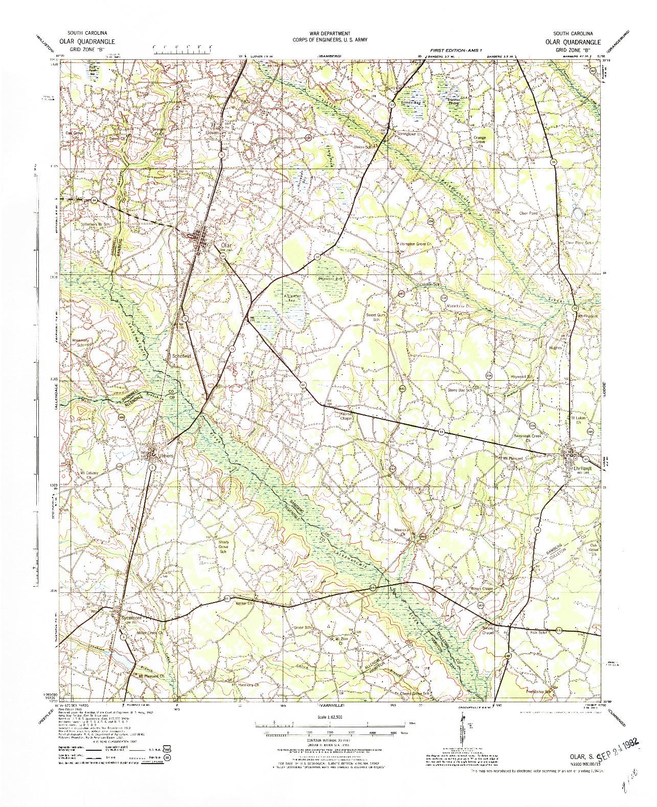 USGS 1:62500-SCALE QUADRANGLE FOR OLAR, SC 1943