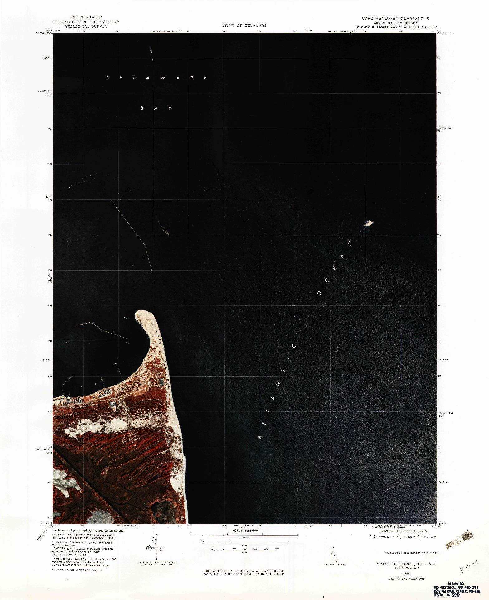 USGS 1:25000-SCALE QUADRANGLE FOR CAPE HENLOPEN, DE 1980