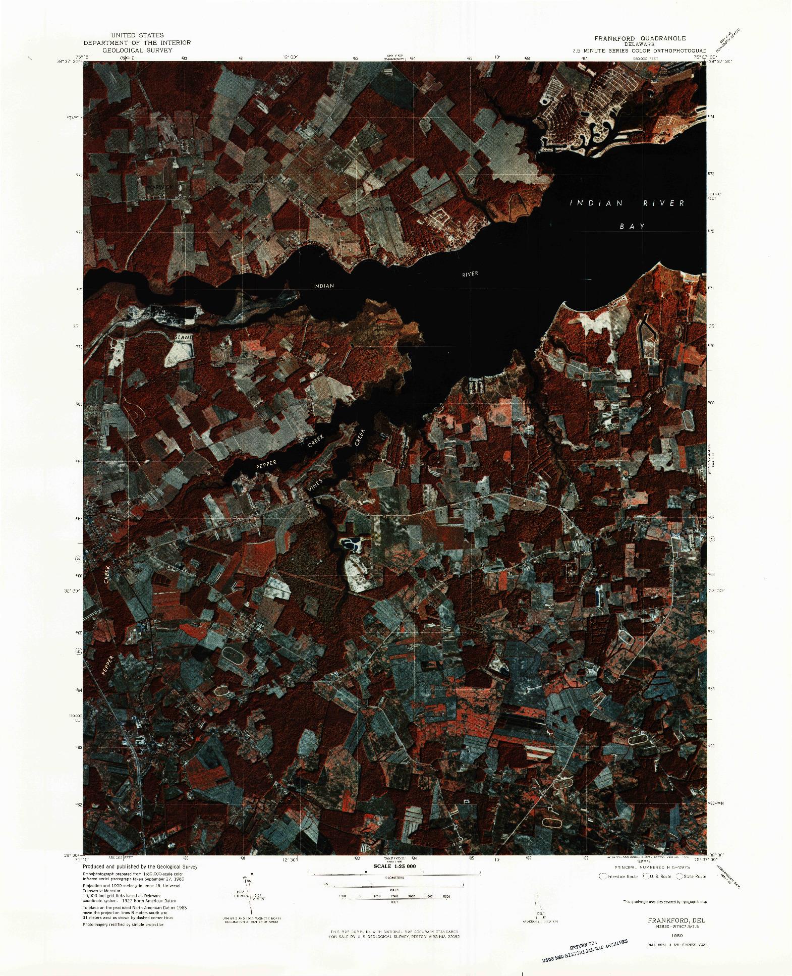 USGS 1:25000-SCALE QUADRANGLE FOR FRANKFORD, DE 1980