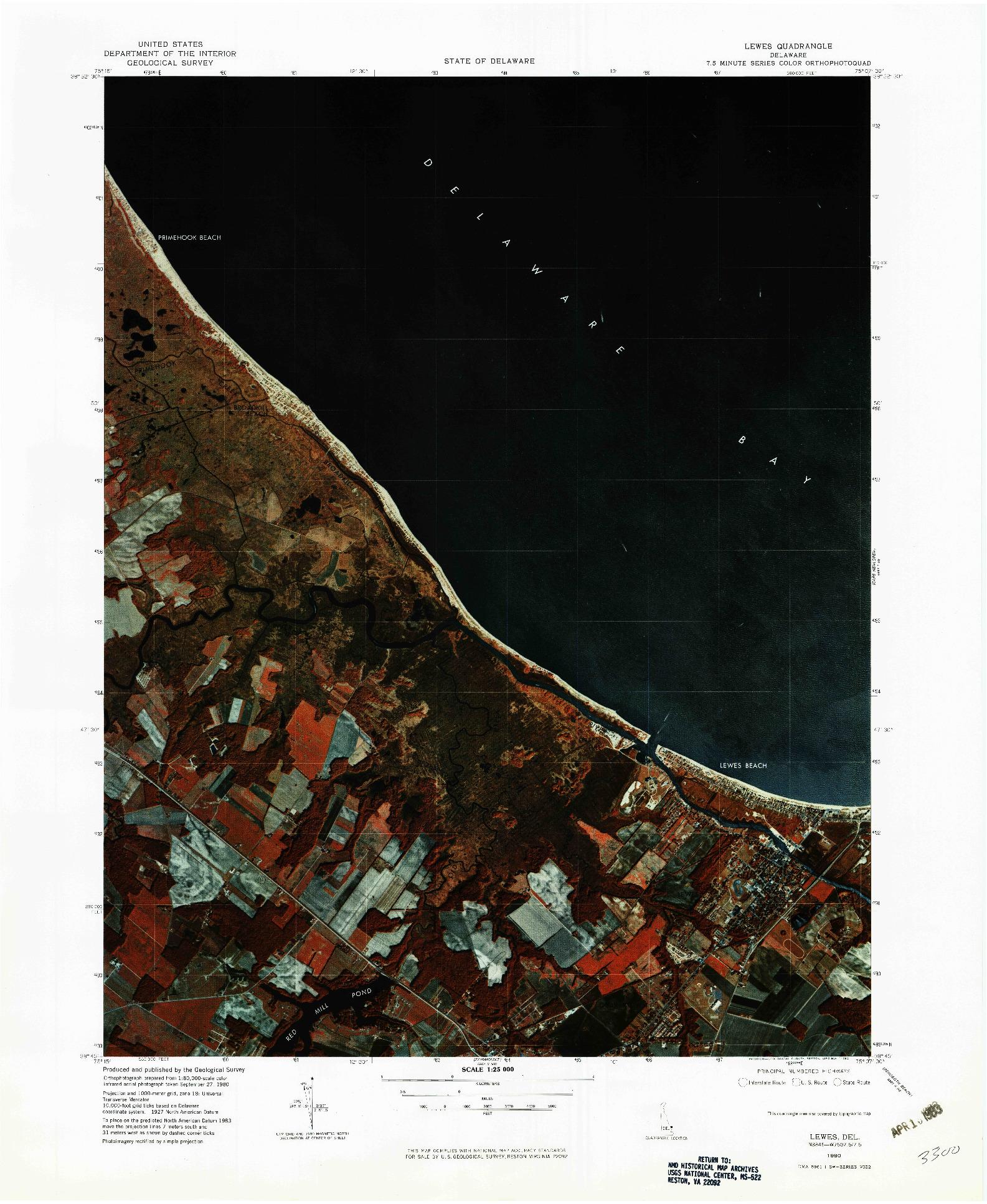 USGS 1:25000-SCALE QUADRANGLE FOR LEWES, DE 1980