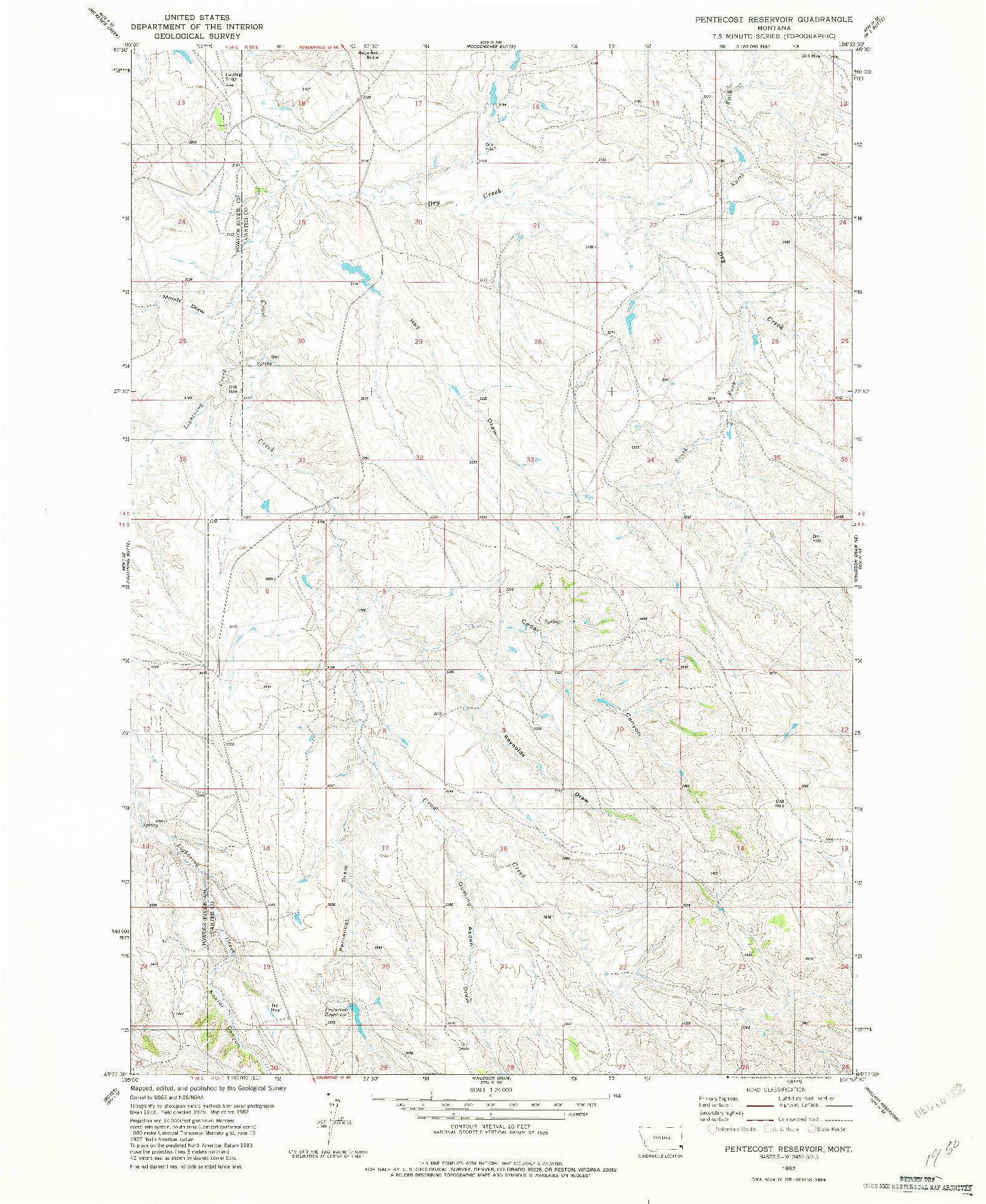 USGS 1:24000-SCALE QUADRANGLE FOR PENTECOST RESERVOIR, MT 1982