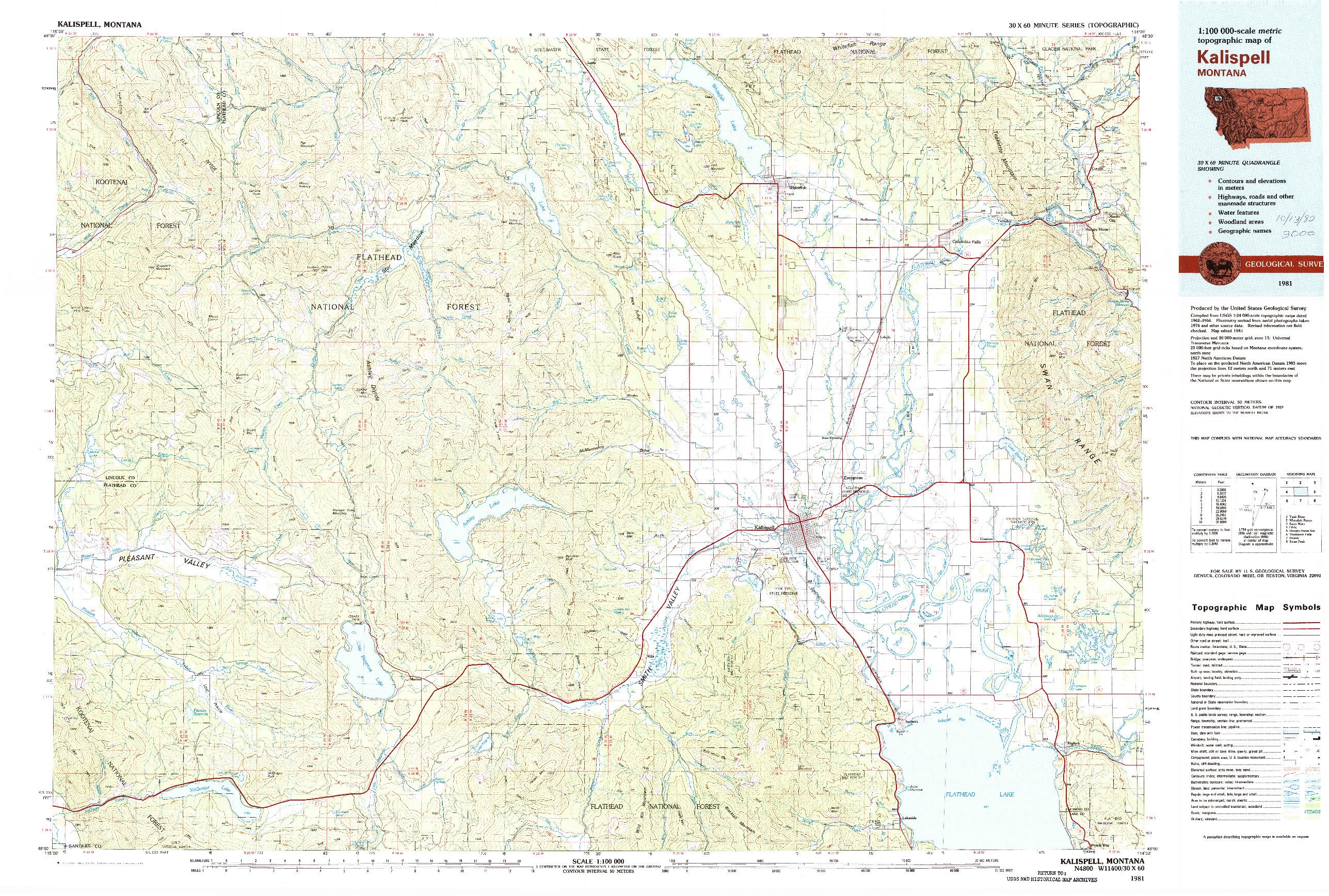 USGS 1:100000-SCALE QUADRANGLE FOR KALISPELL, MT 1981