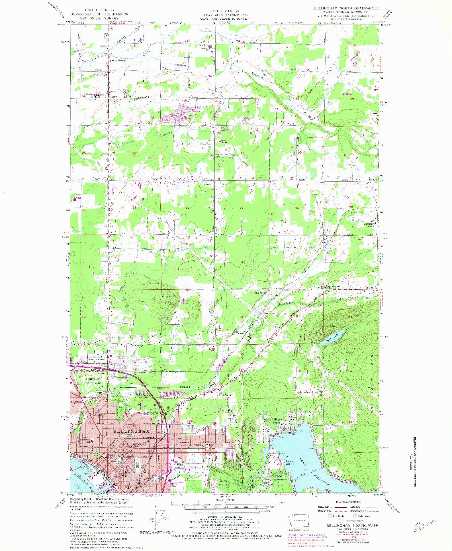 USGS 1:24000-SCALE QUADRANGLE FOR BELLINGHAM NORTH, WA 1954
