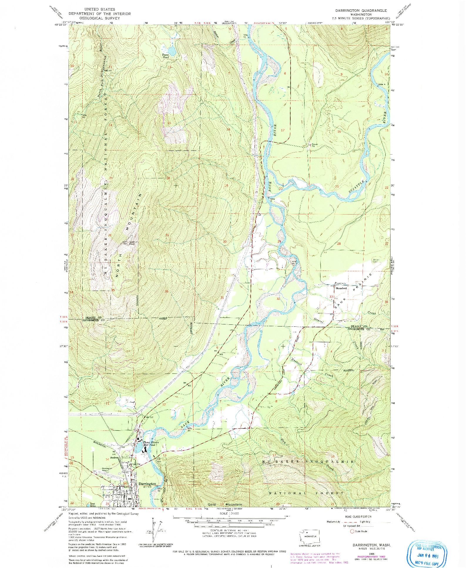 USGS 1:24000-SCALE QUADRANGLE FOR DARRINGTON, WA 1966
