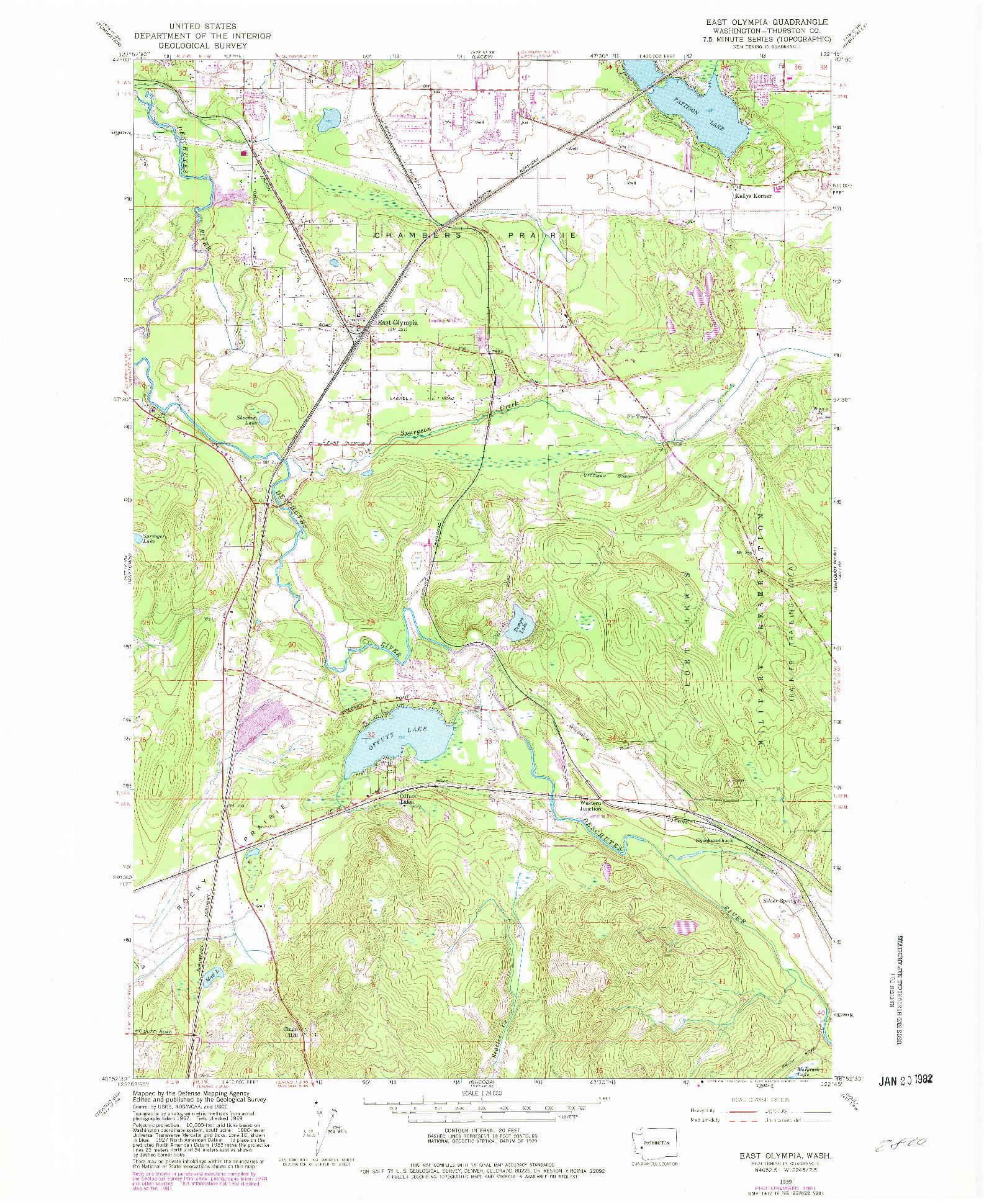 USGS 1:24000-SCALE QUADRANGLE FOR EAST OLYMPIA, WA 1959