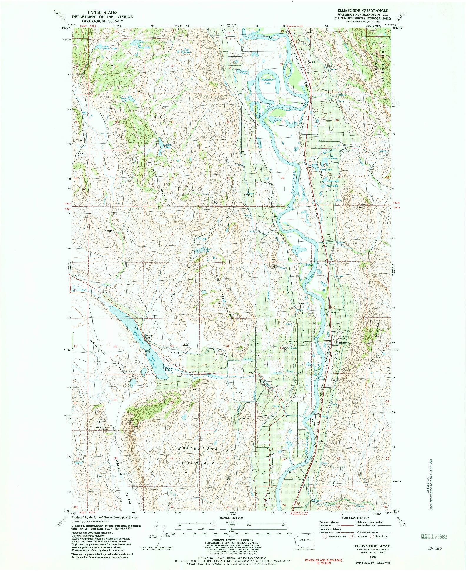 USGS 1:24000-SCALE QUADRANGLE FOR ELLISFORDE, WA 1982