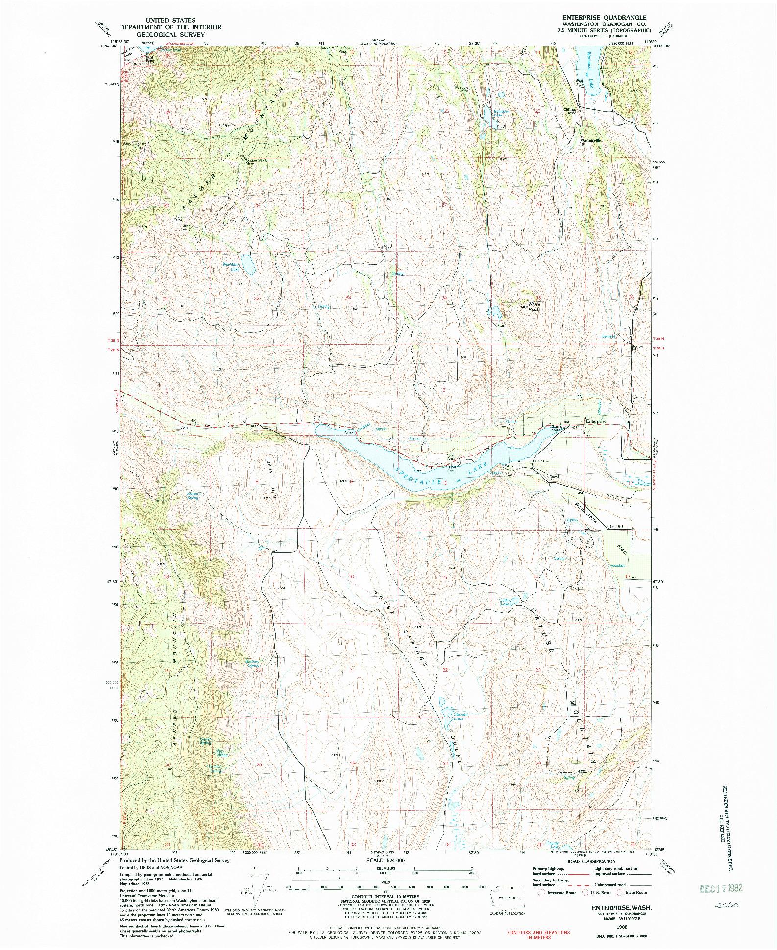 USGS 1:24000-SCALE QUADRANGLE FOR ENTERPRISE, WA 1982