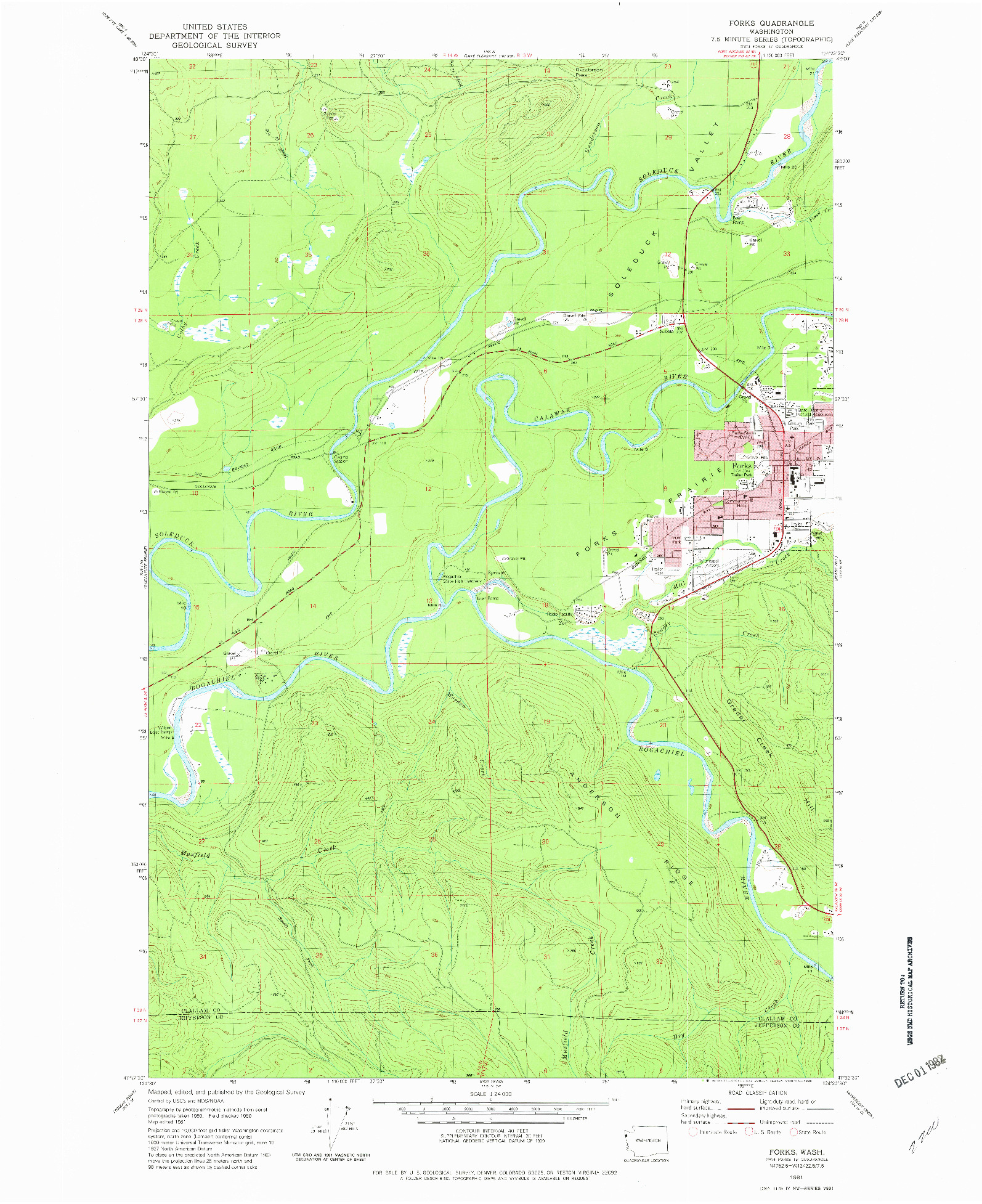 USGS 1:24000-SCALE QUADRANGLE FOR FORKS, WA 1981