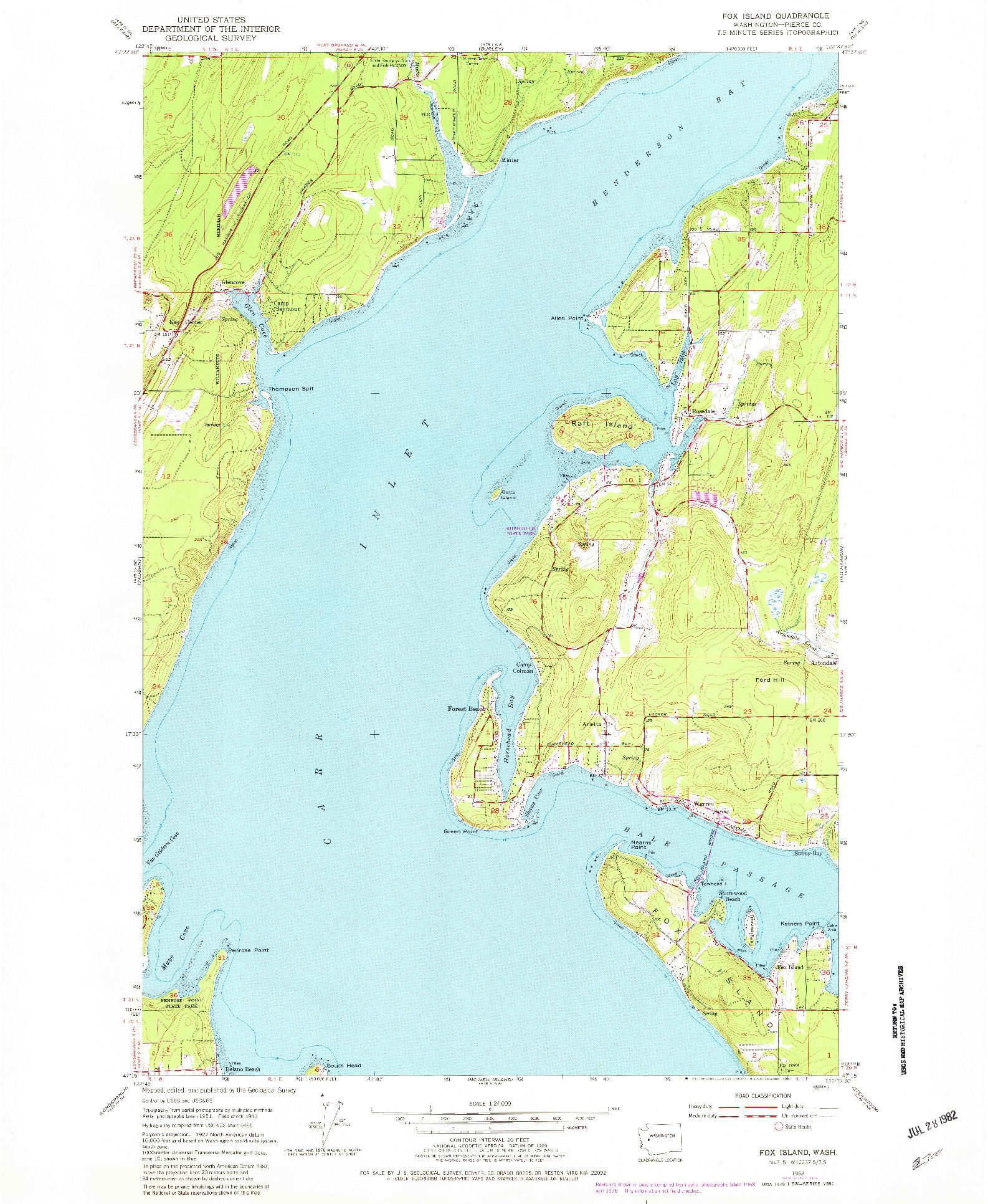 USGS 1:24000-SCALE QUADRANGLE FOR FOX ISLAND, WA 1953
