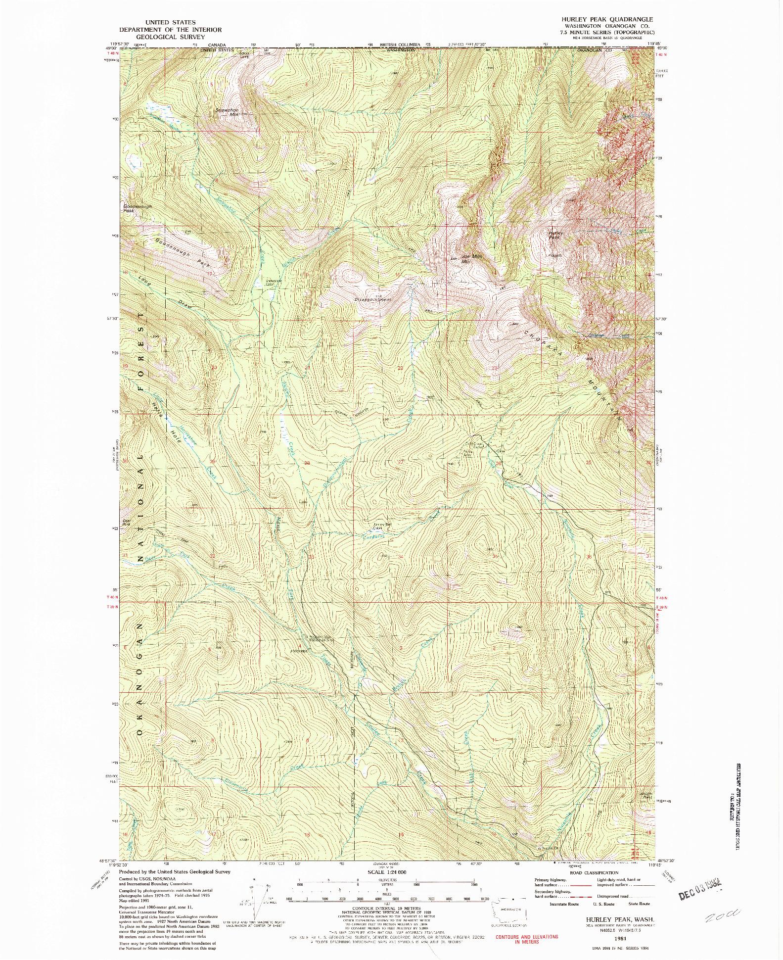 USGS 1:24000-SCALE QUADRANGLE FOR HURLEY PEAK, WA 1981