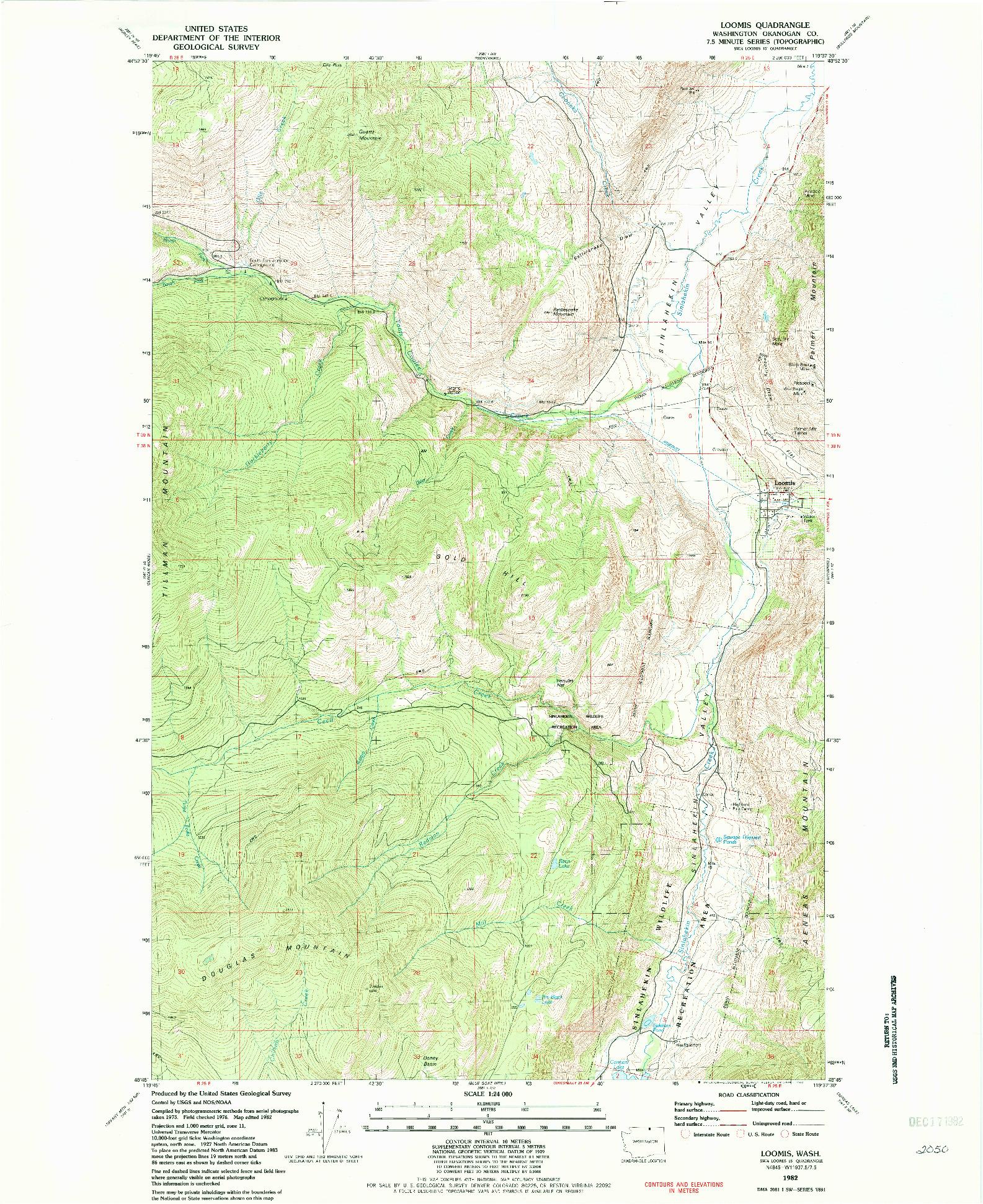 USGS 1:24000-SCALE QUADRANGLE FOR LOOMIS, WA 1982