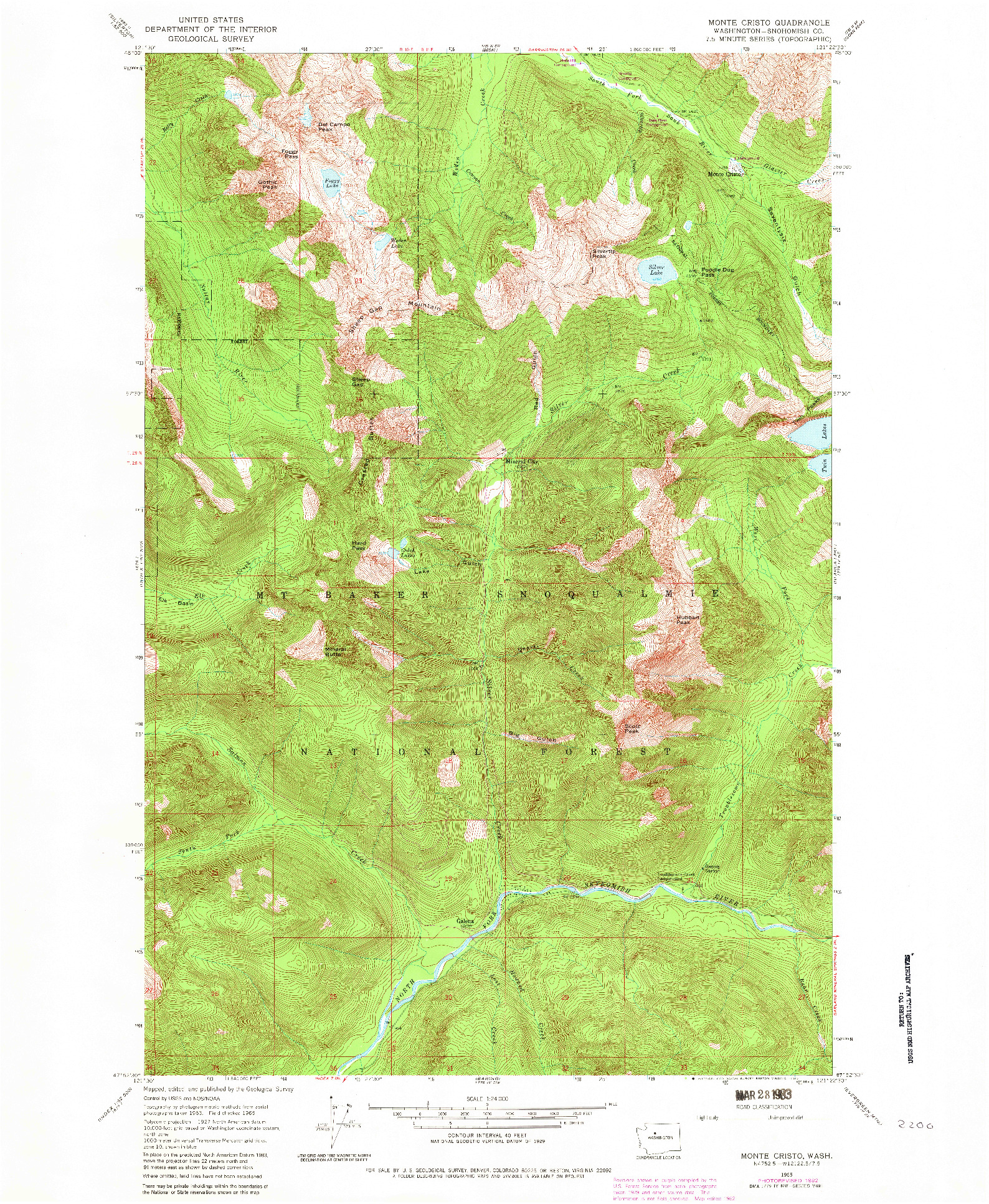USGS 1:24000-SCALE QUADRANGLE FOR MONTE CRISTO, WA 1965