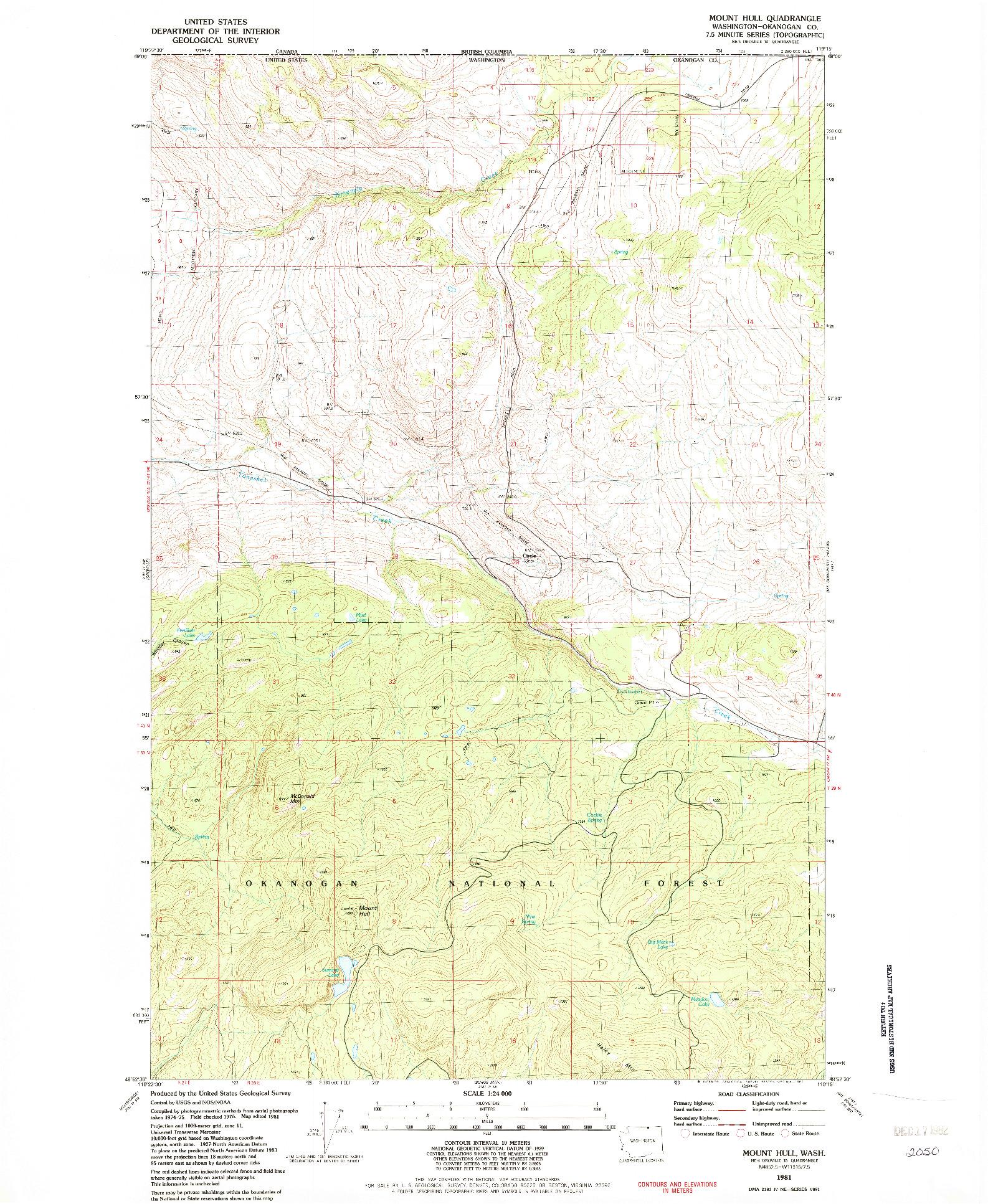 USGS 1:24000-SCALE QUADRANGLE FOR MOUNT HULL, WA 1981