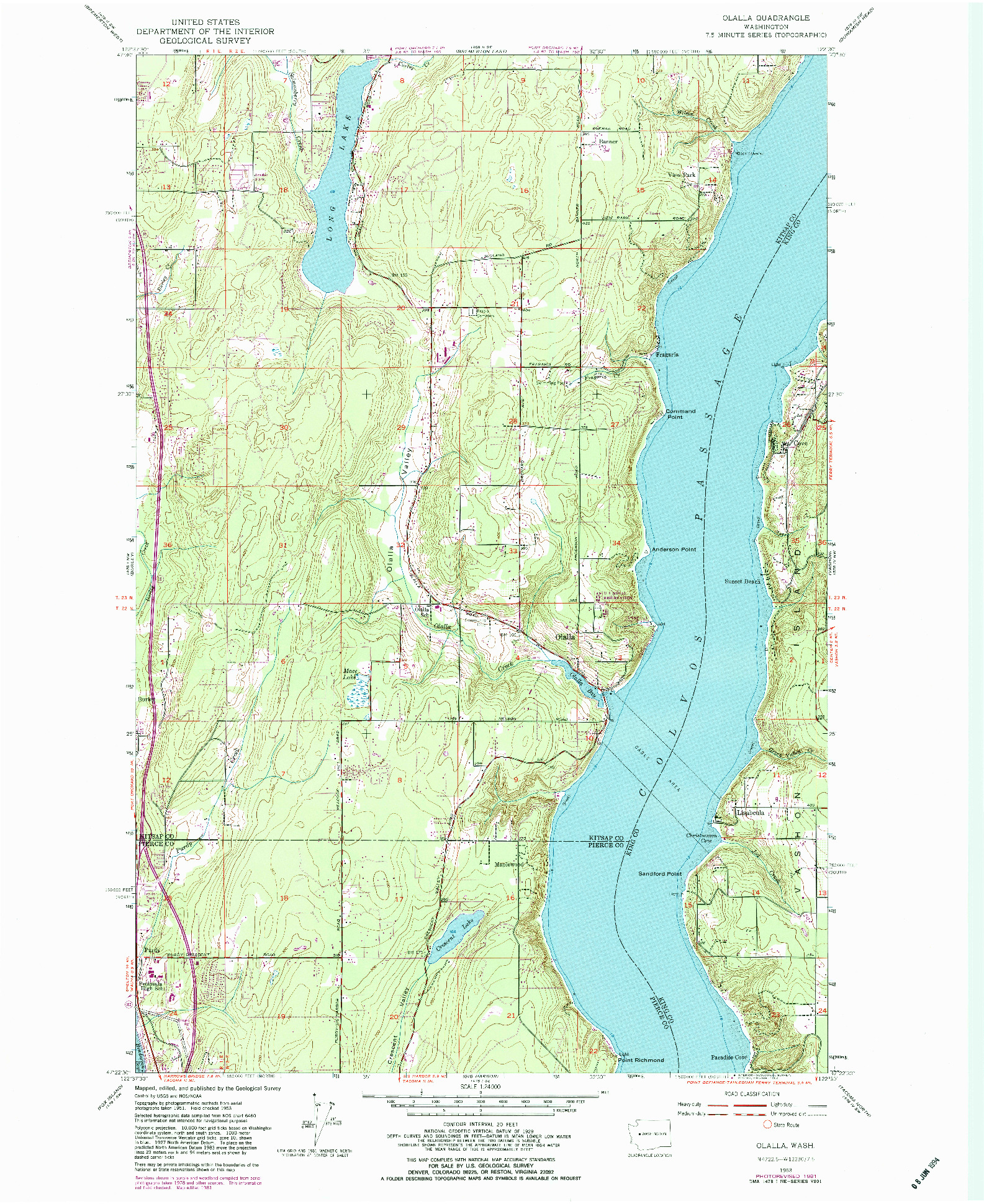 USGS 1:24000-SCALE QUADRANGLE FOR OLALLA, WA 1953