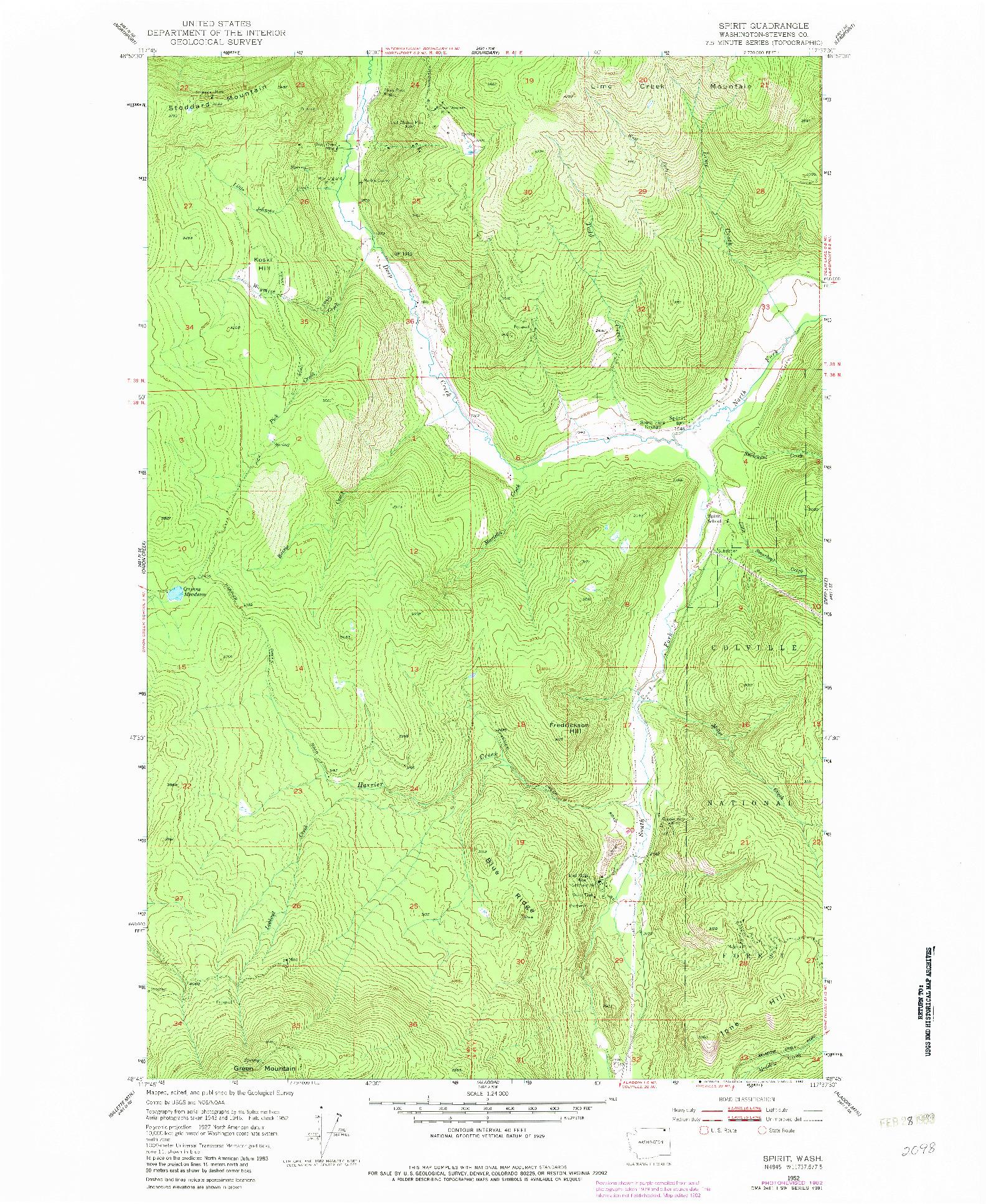 USGS 1:24000-SCALE QUADRANGLE FOR SPIRIT, WA 1952