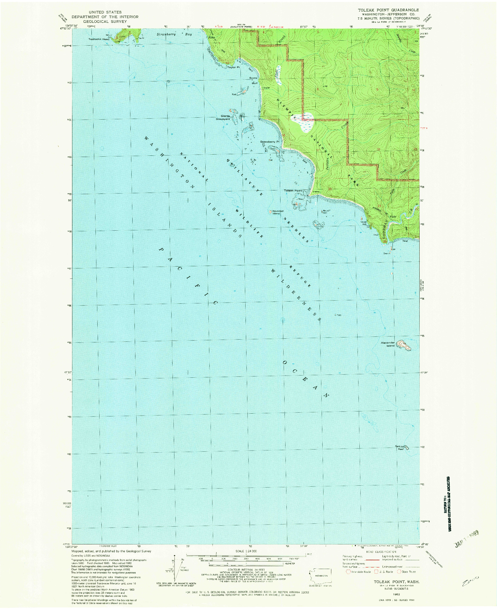 USGS 1:24000-SCALE QUADRANGLE FOR TOLEAK POINT, WA 1982
