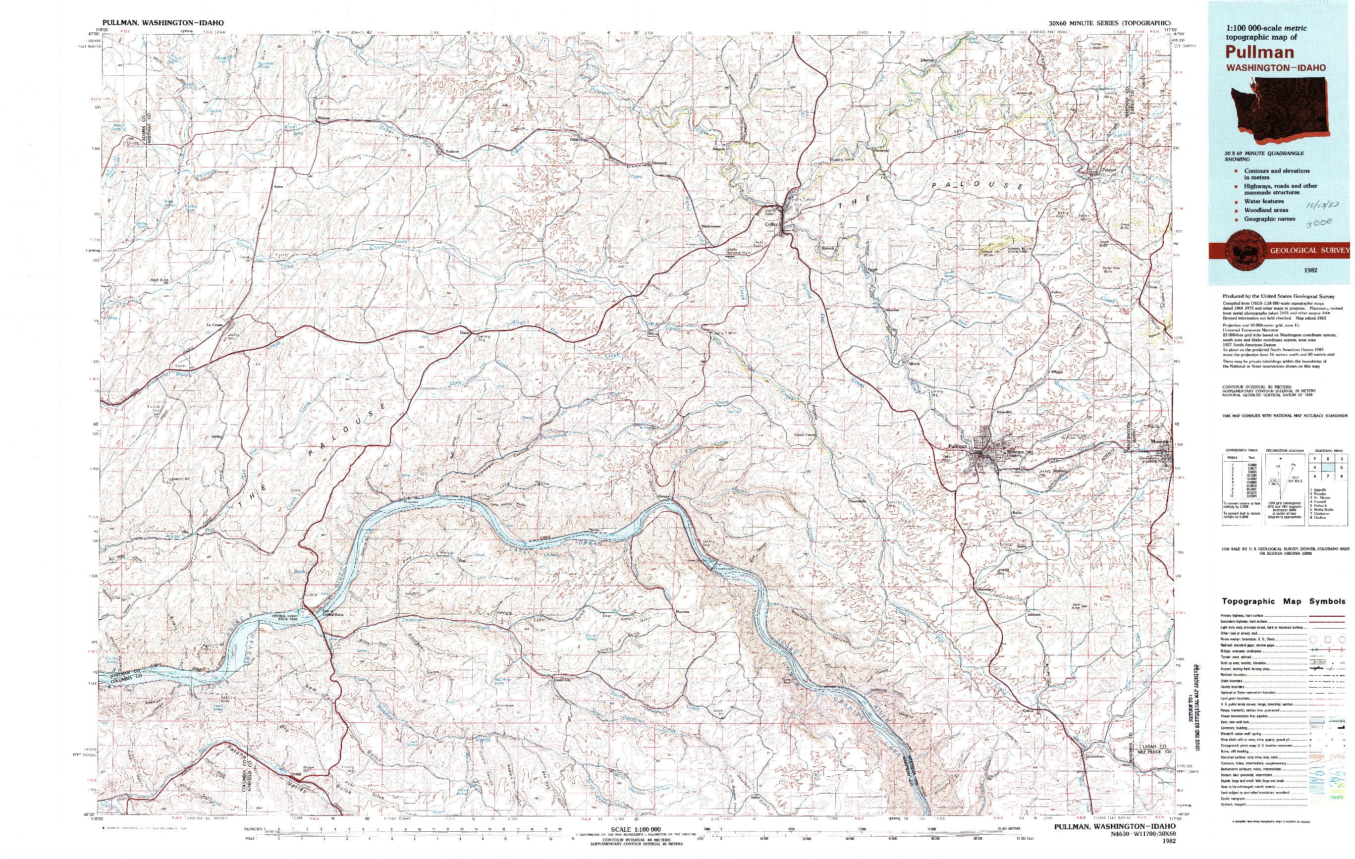 USGS 1:100000-SCALE QUADRANGLE FOR PULLMAN, WA 1982