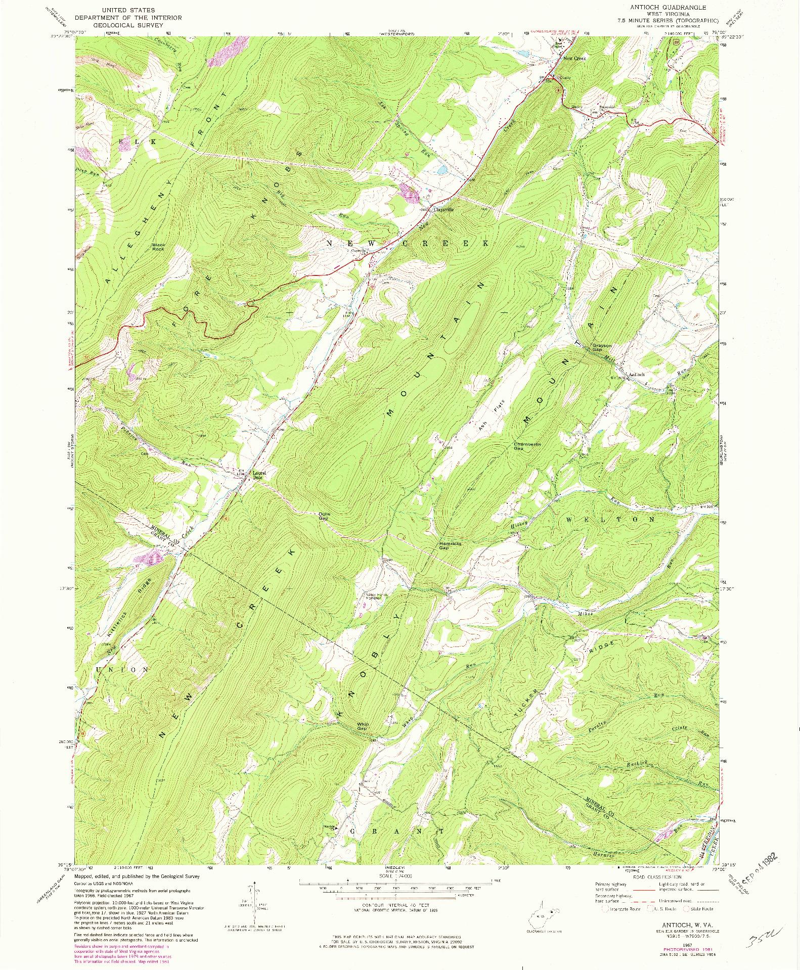 USGS 1:24000-SCALE QUADRANGLE FOR ANTIOCH, WV 1967