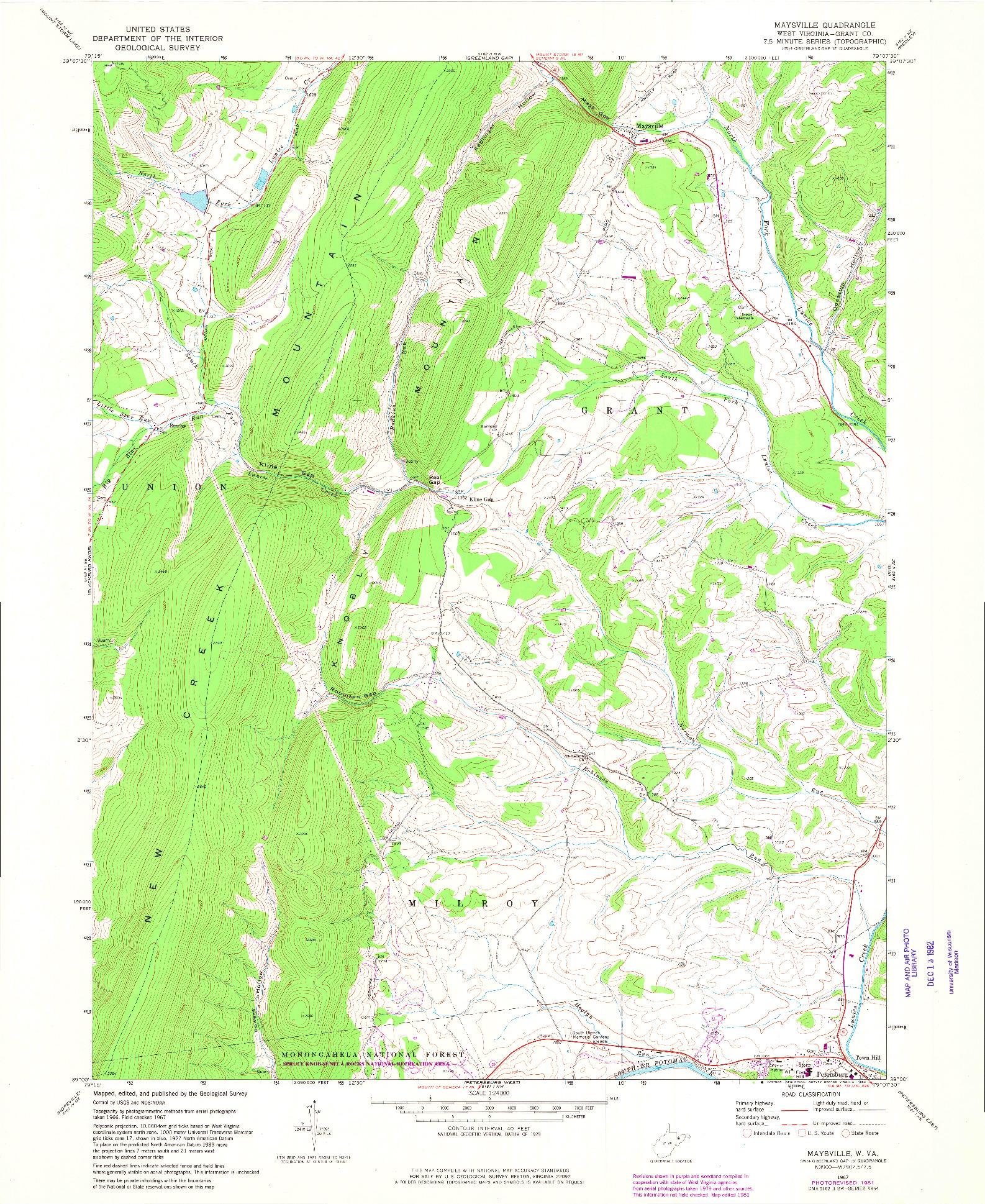 USGS 1:24000-SCALE QUADRANGLE FOR MAYSVILLE, WV 1967