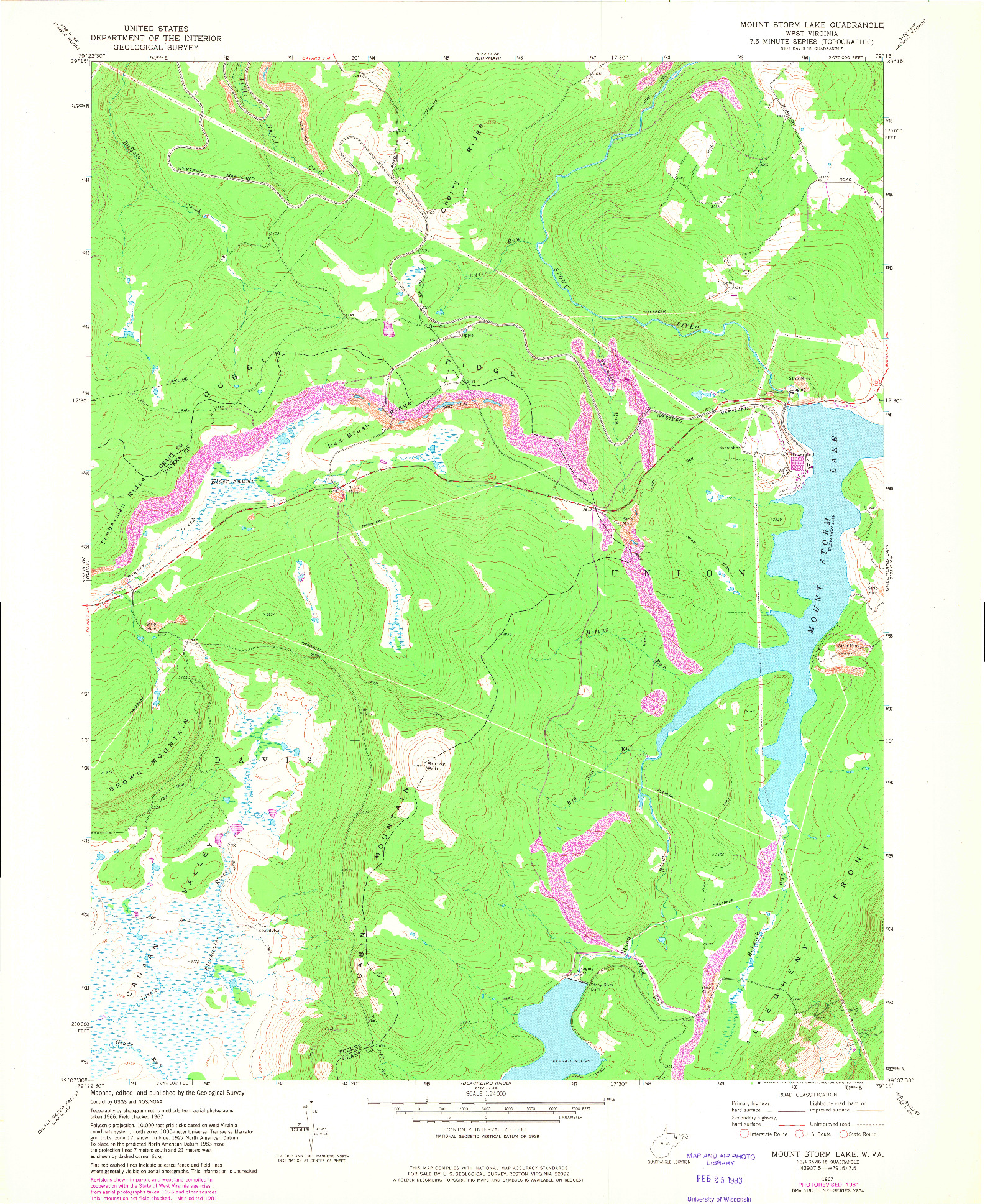 USGS 1:24000-SCALE QUADRANGLE FOR MOUNT STORM LAKE, WV 1967