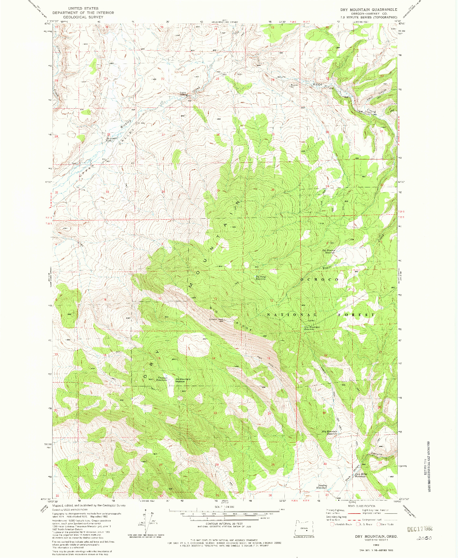 USGS 1:24000-SCALE QUADRANGLE FOR DRY MOUNTAIN, OR 1982