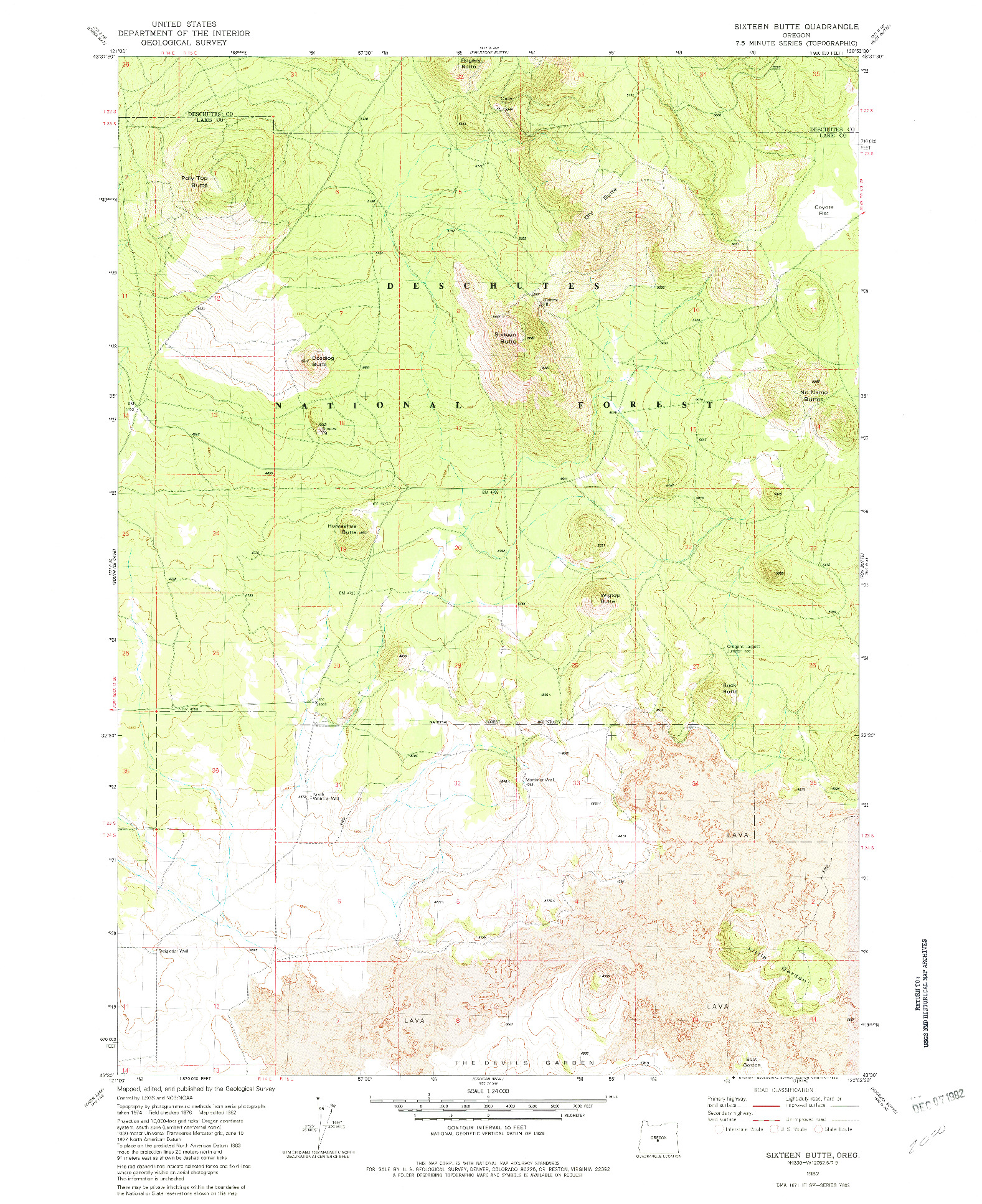 USGS 1:24000-SCALE QUADRANGLE FOR SIXTEEN BUTTE, OR 1982