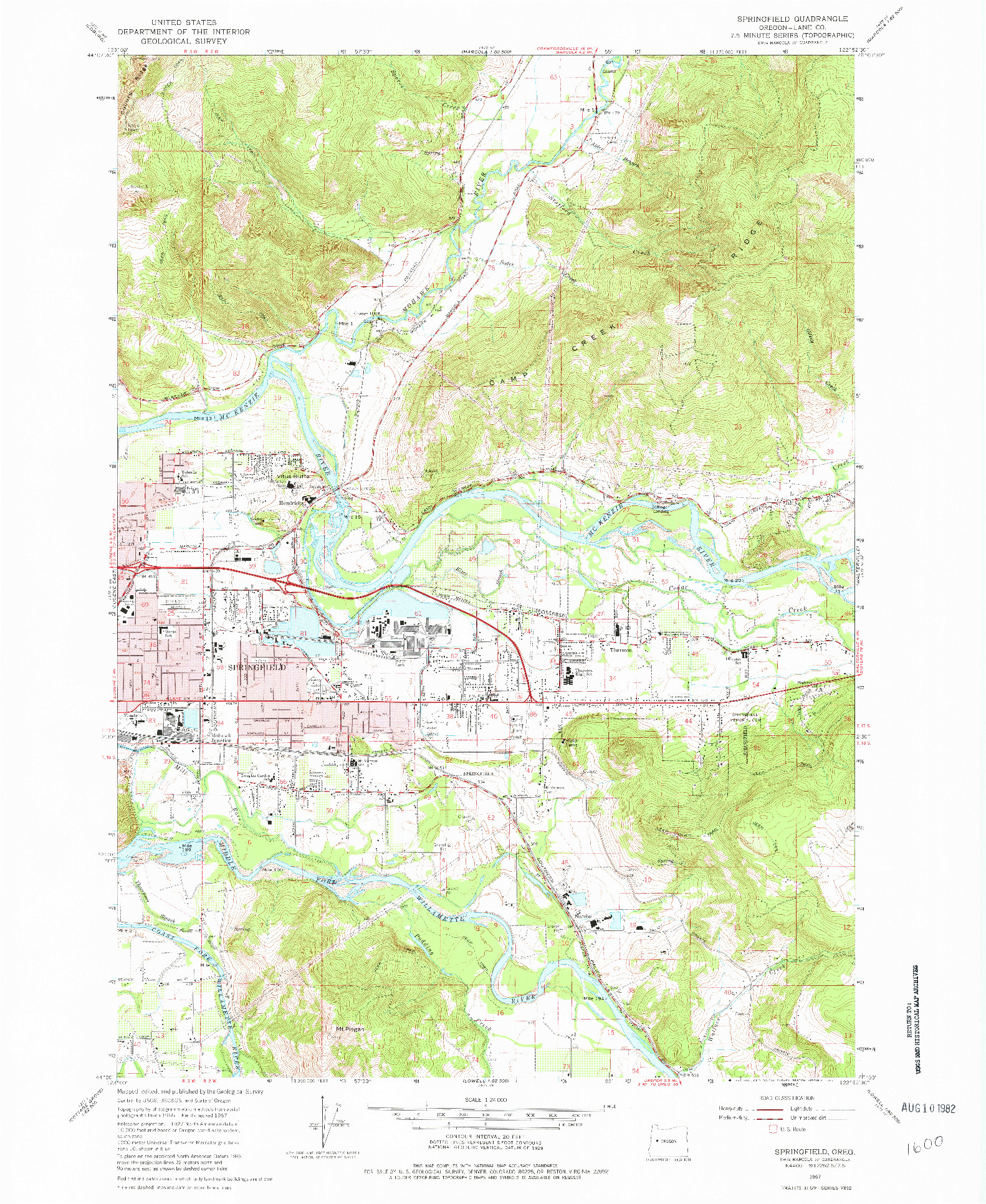 USGS 1:24000-SCALE QUADRANGLE FOR SPRINGFIELD, OR 1967