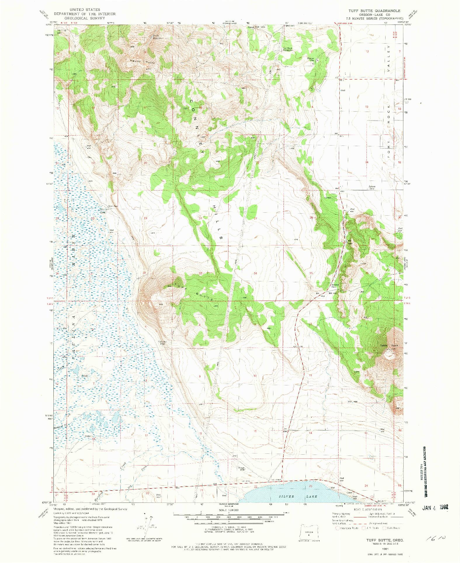 USGS 1:24000-SCALE QUADRANGLE FOR TUFF BUTTE, OR 1981
