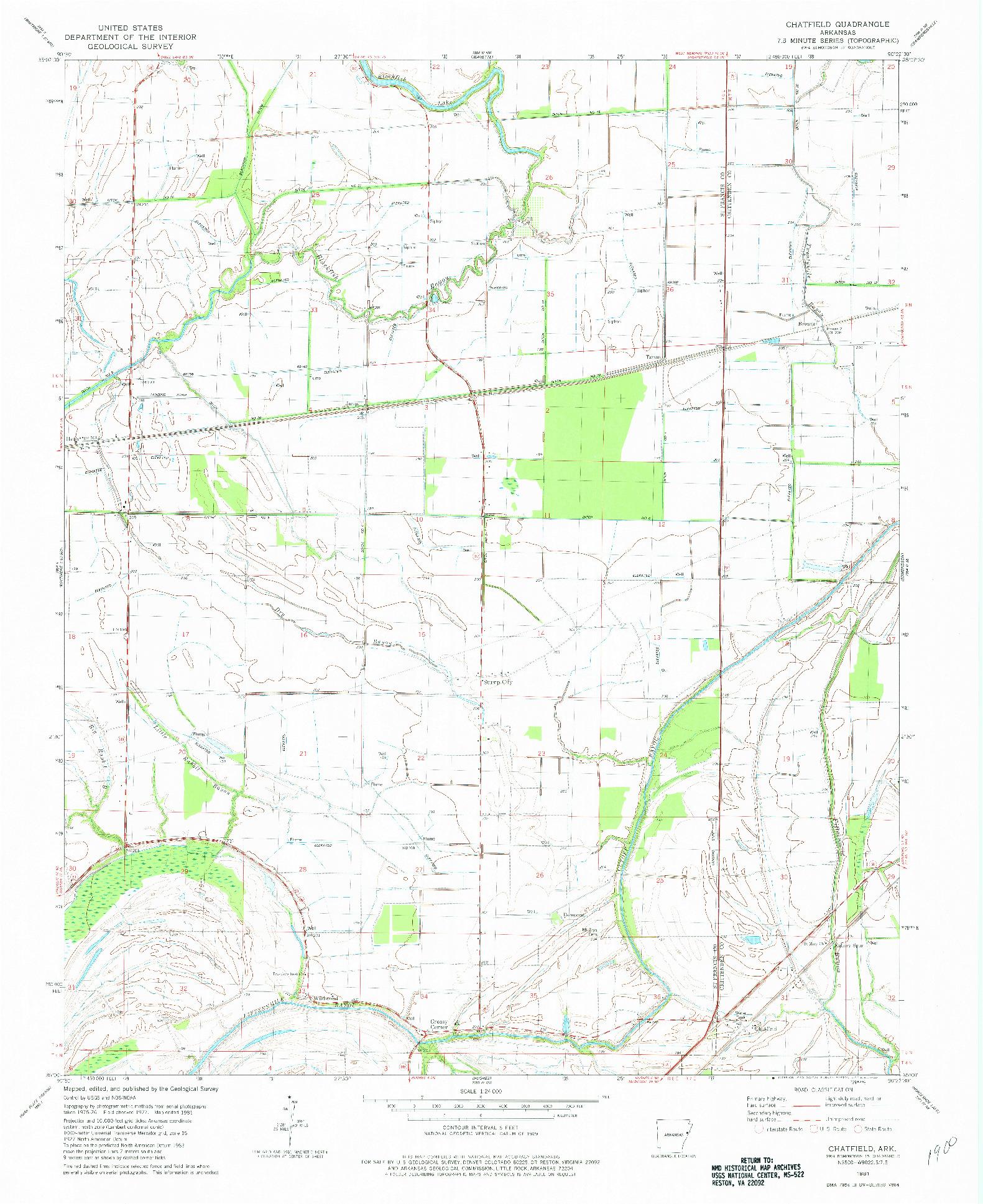 USGS 1:24000-SCALE QUADRANGLE FOR CHATFIELD, AR 1981