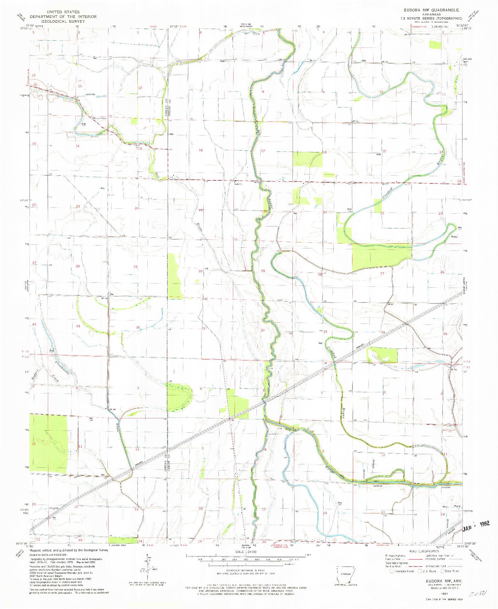 USGS 1:24000-SCALE QUADRANGLE FOR EUDORA NW, AR 1981
