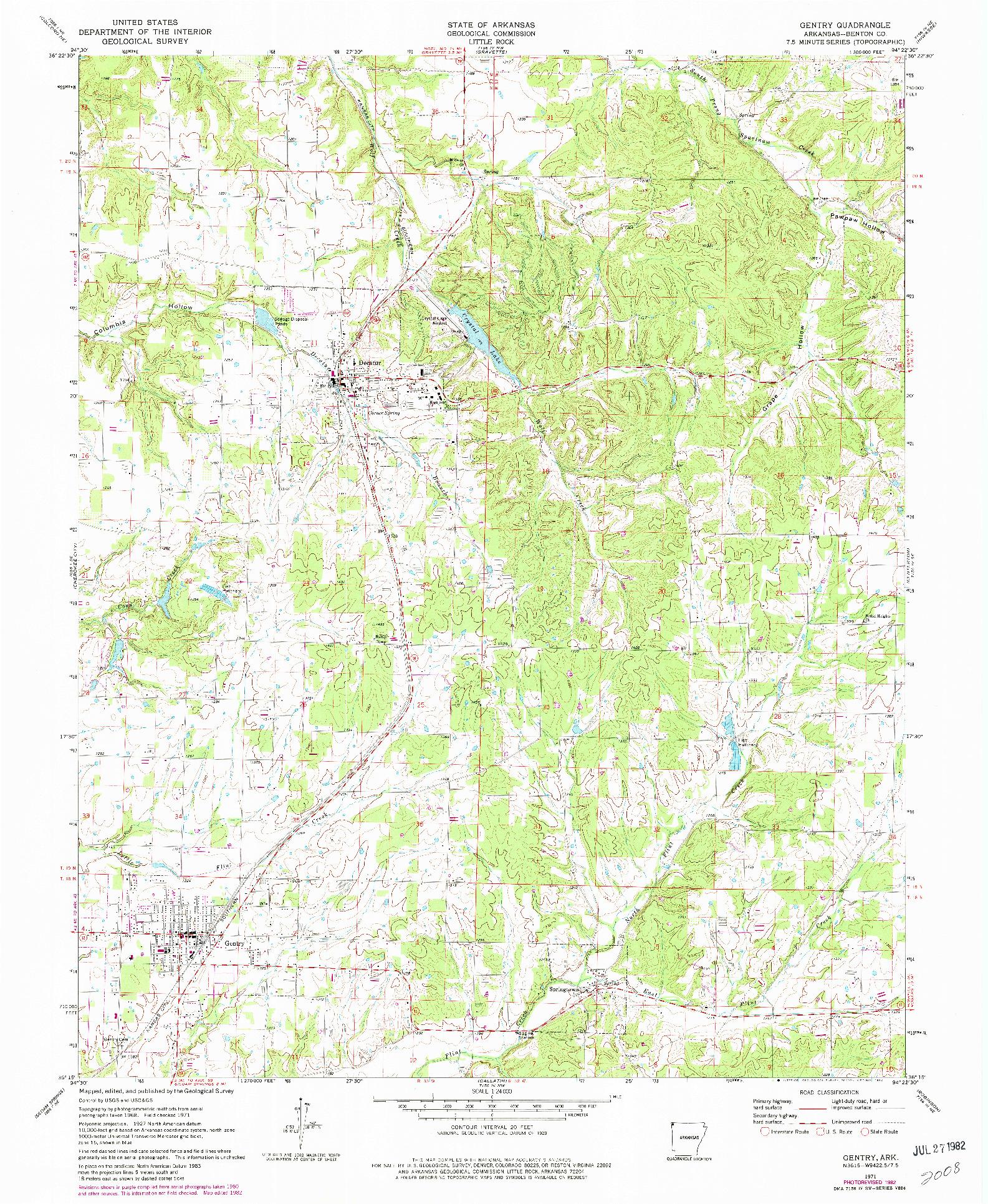 USGS 1:24000-SCALE QUADRANGLE FOR GENTRY, AR 1971