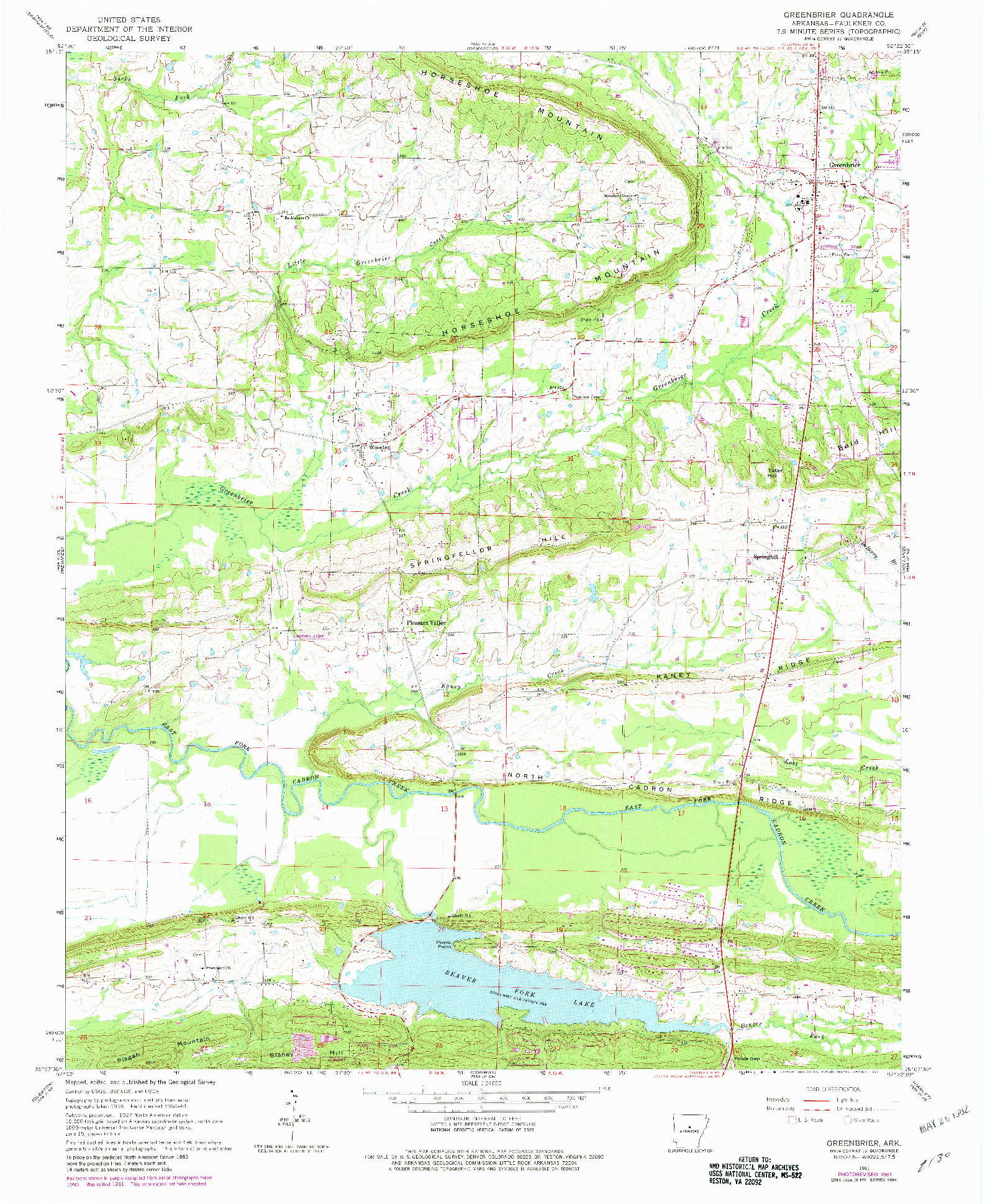 USGS 1:24000-SCALE QUADRANGLE FOR GREENBRIER, AR 1961