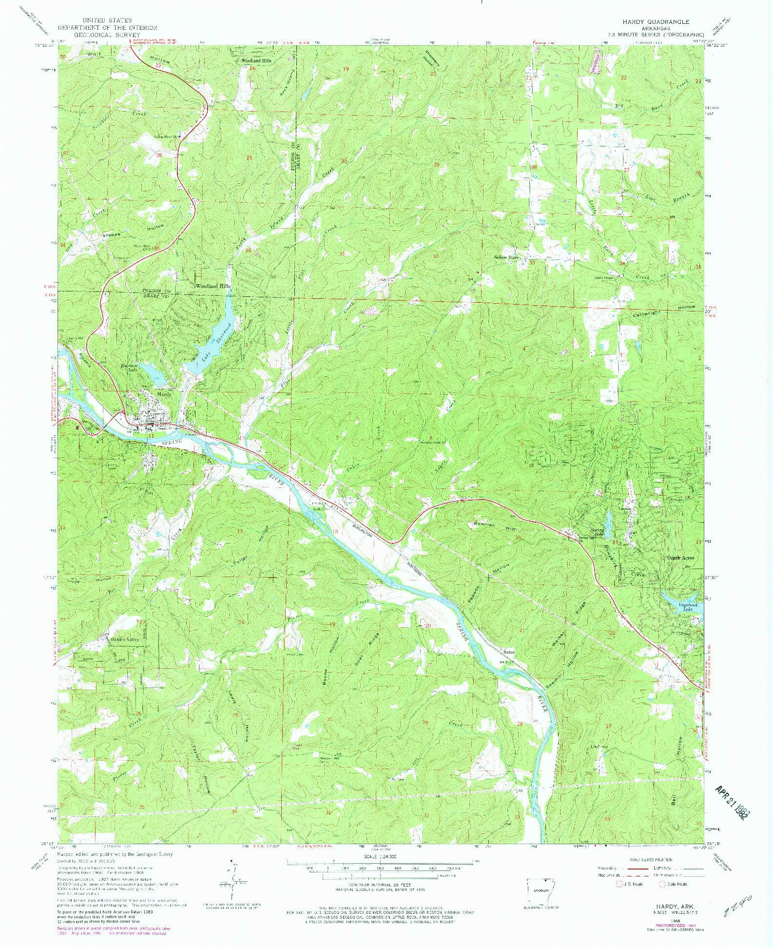 USGS 1:24000-SCALE QUADRANGLE FOR HARDY, AR 1968