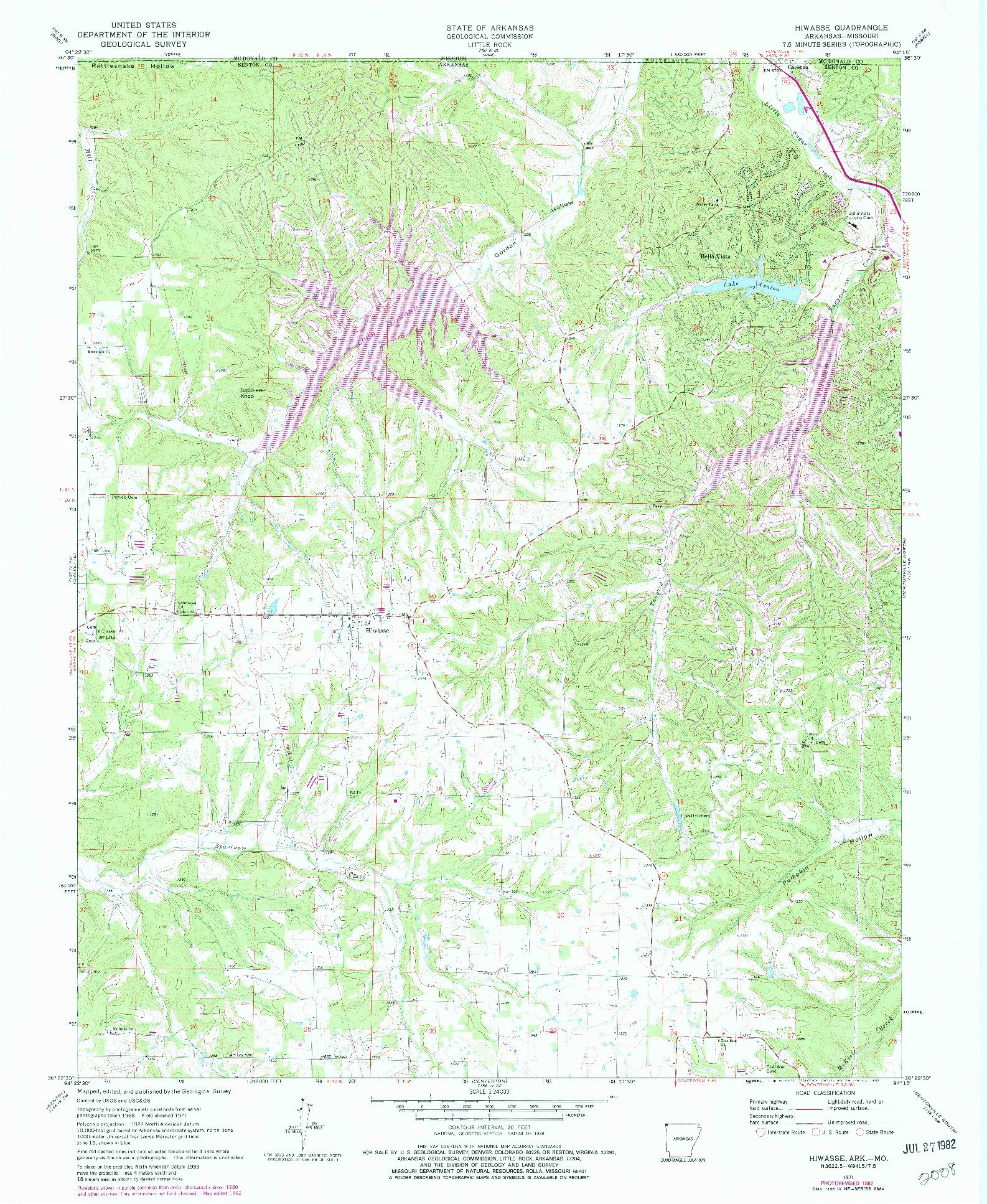 USGS 1:24000-SCALE QUADRANGLE FOR HIWASSE, AR 1971
