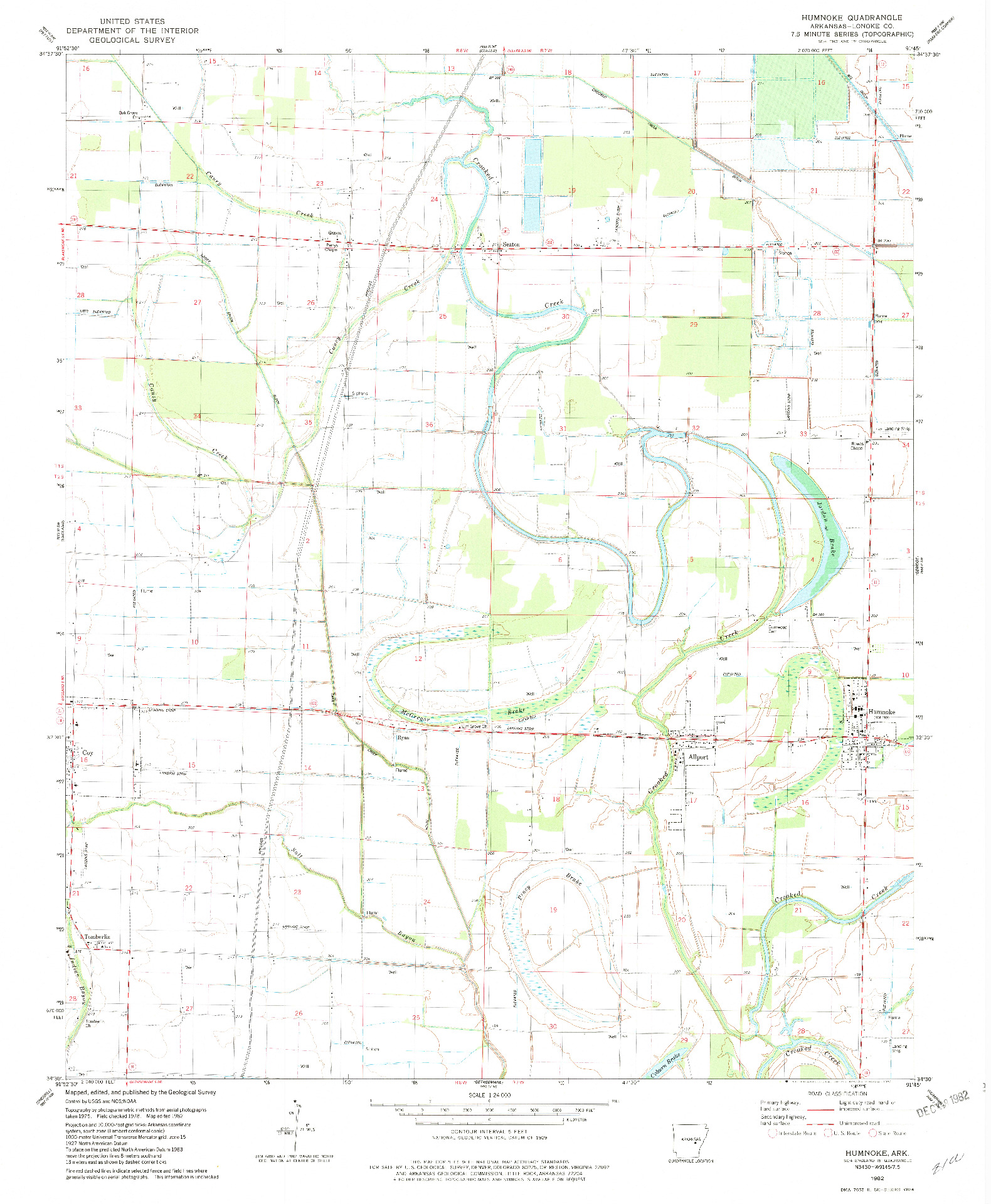 USGS 1:24000-SCALE QUADRANGLE FOR HUMNOKE, AR 1982