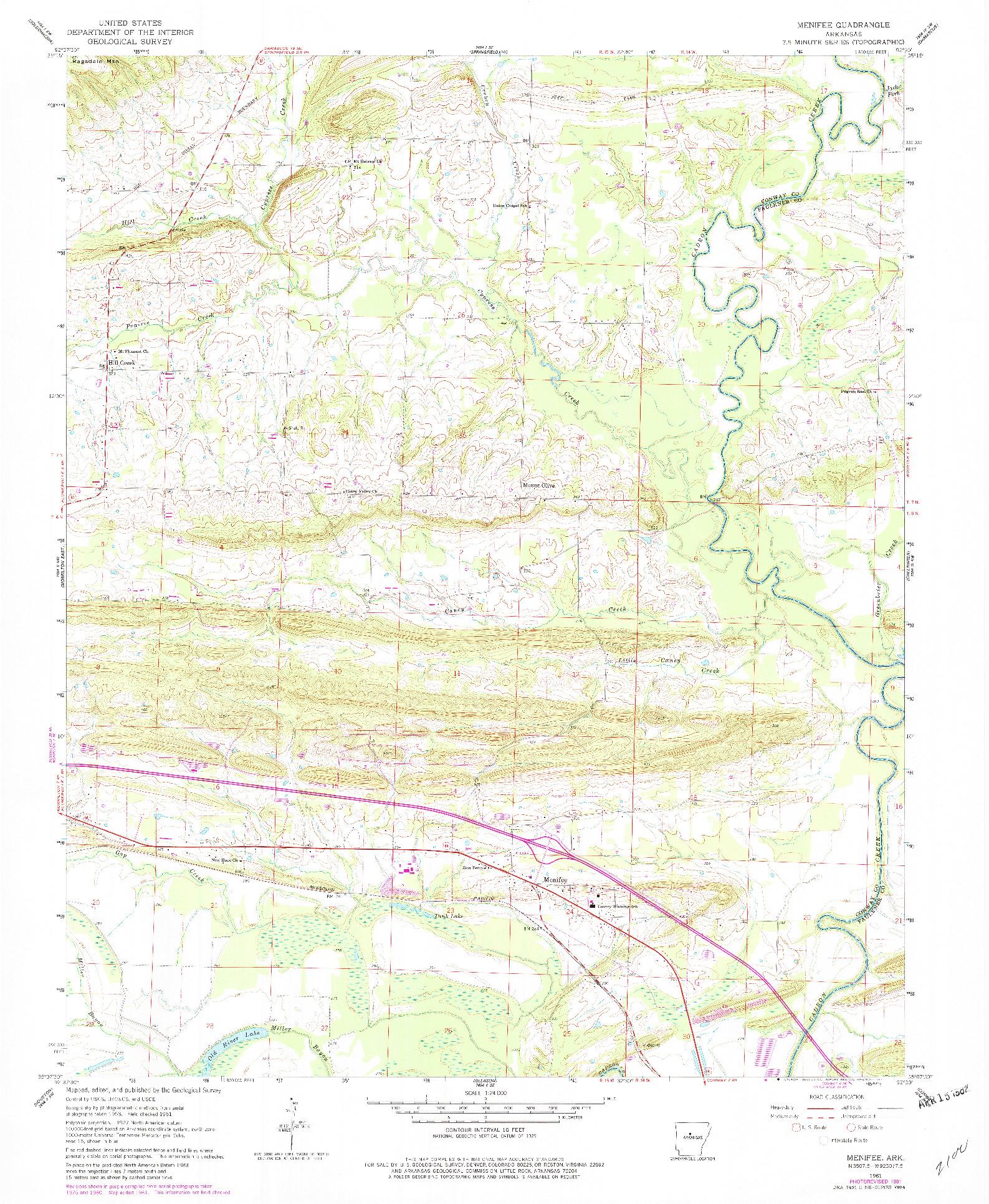 USGS 1:24000-SCALE QUADRANGLE FOR MENIFEE, AR 1961