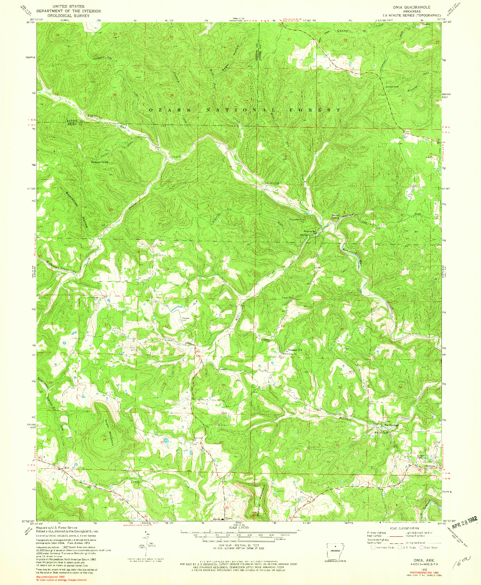 USGS 1:24000-SCALE QUADRANGLE FOR ONIA, AR 1972