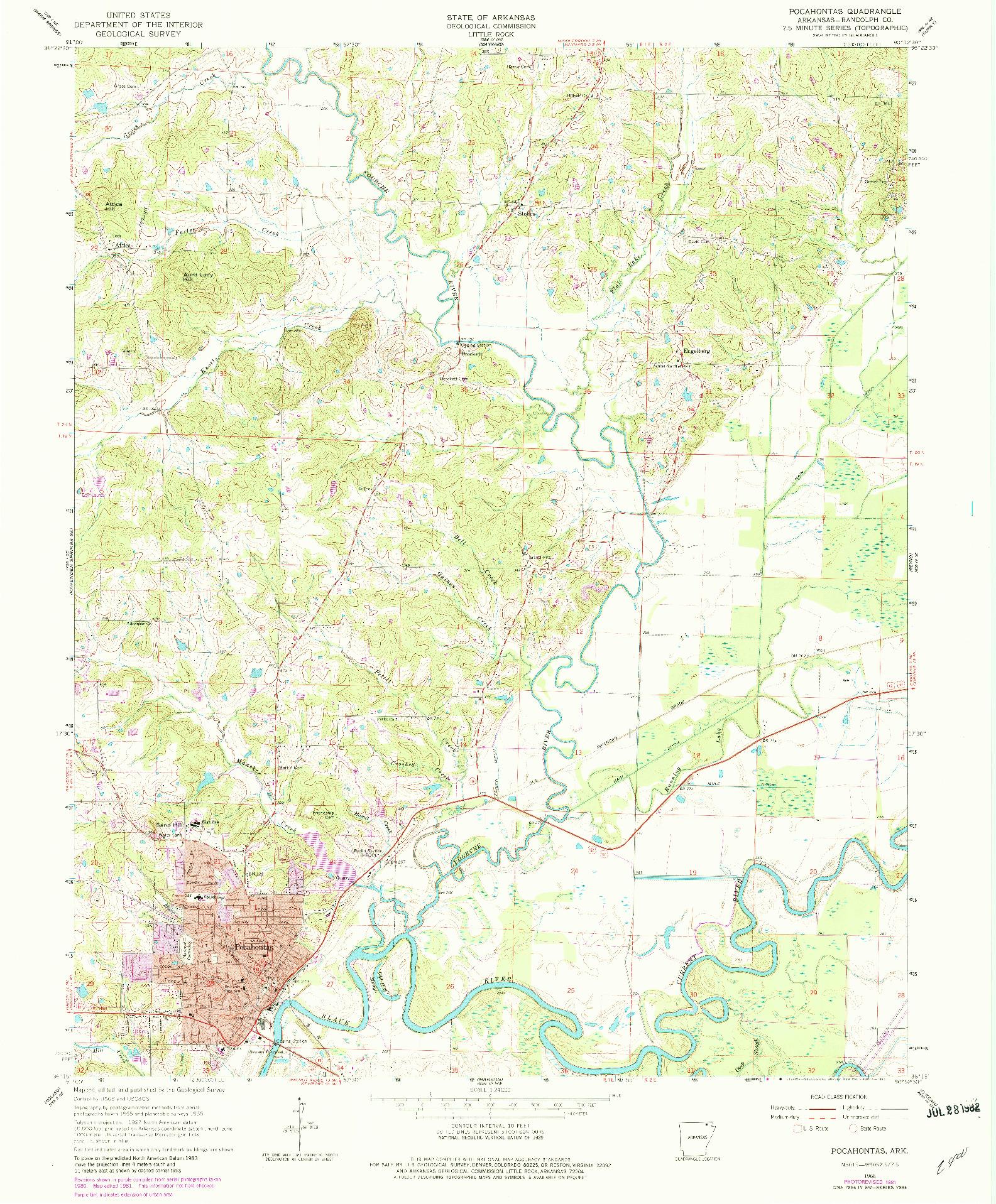 USGS 1:24000-SCALE QUADRANGLE FOR POCAHONTAS, AR 1966