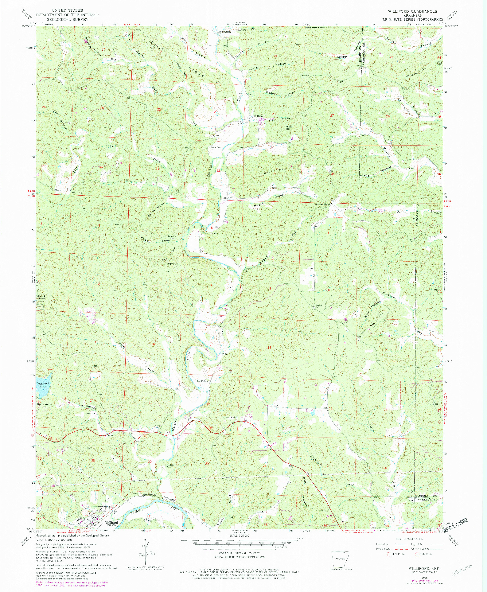 USGS 1:24000-SCALE QUADRANGLE FOR WILLIFORD, AR 1968