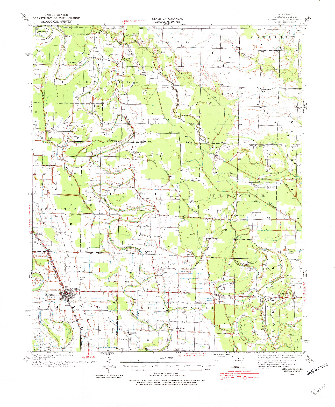 USGS 1:62500-SCALE QUADRANGLE FOR ENGLAND, AR 1937