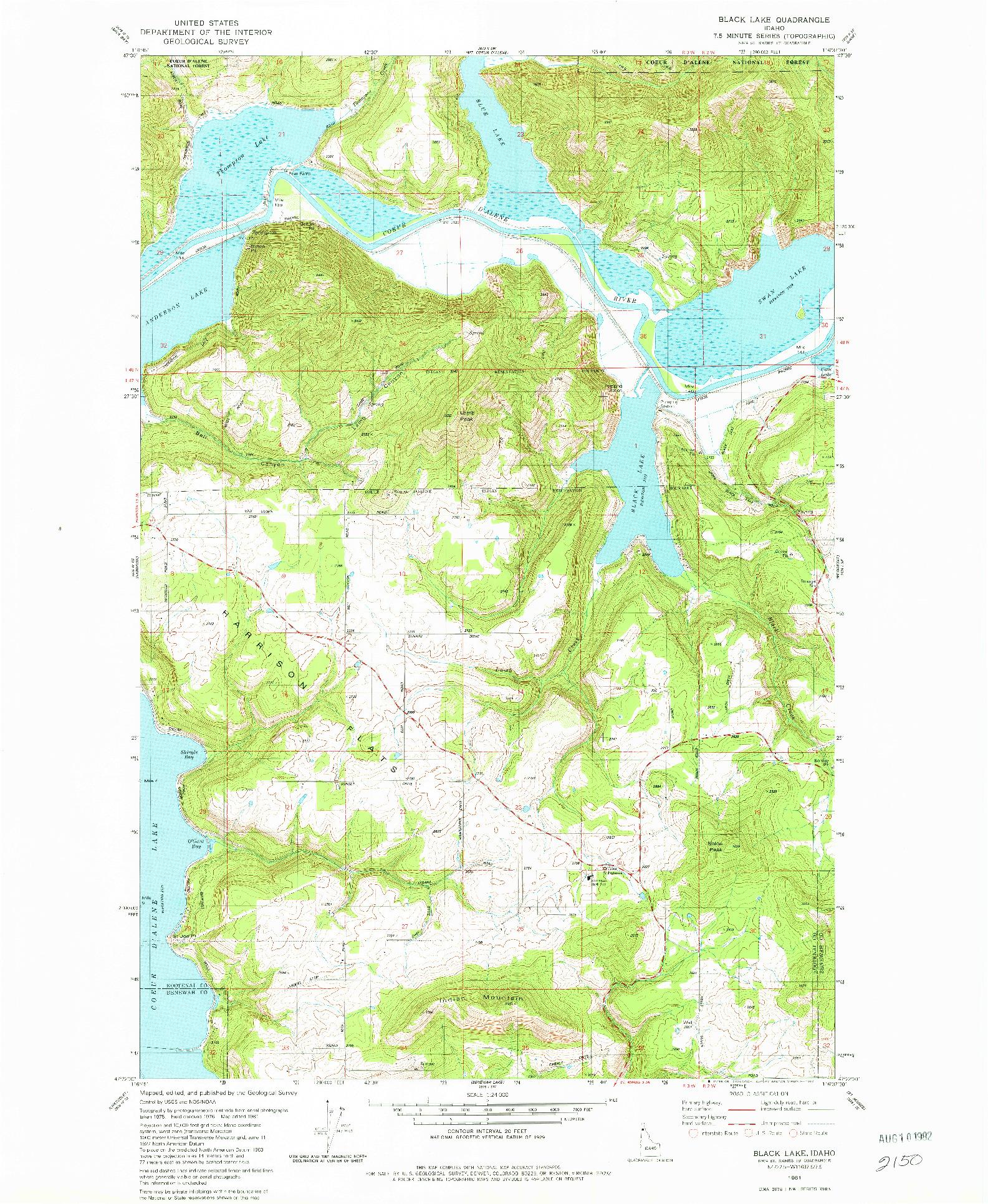 USGS 1:24000-SCALE QUADRANGLE FOR BLACK LAKE, ID 1981