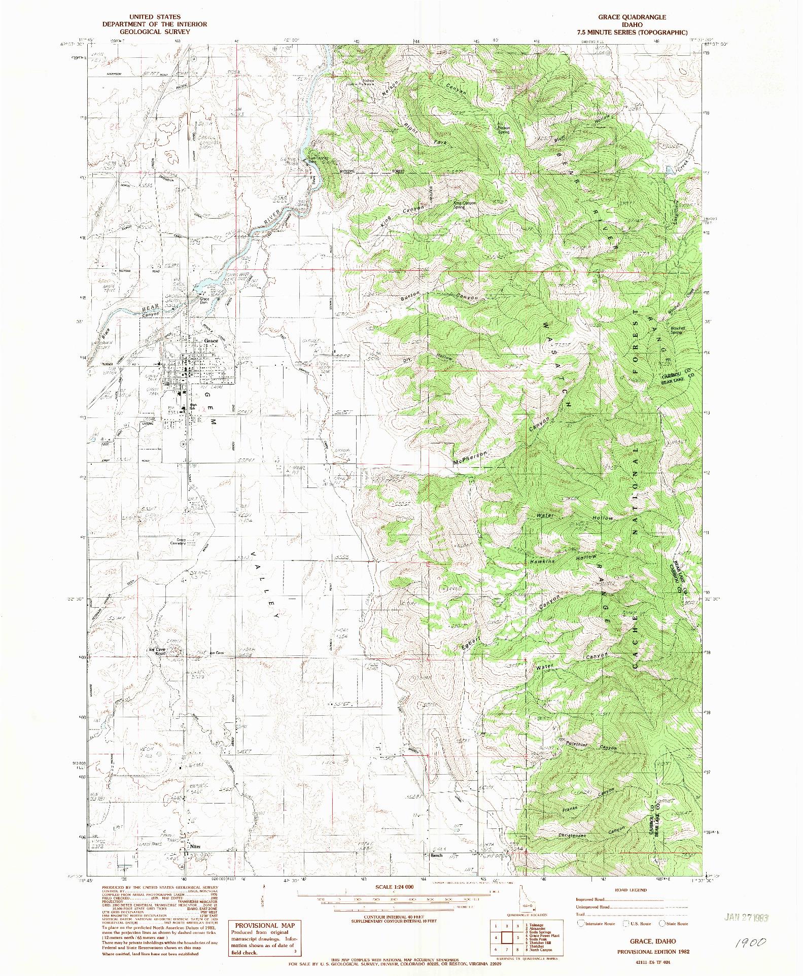 USGS 1:24000-SCALE QUADRANGLE FOR GRACE, ID 1982