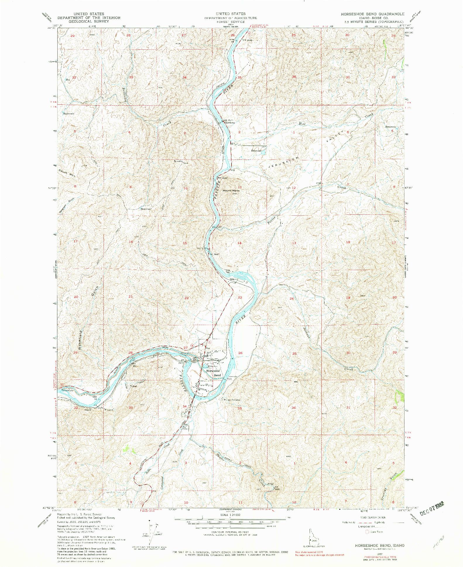 USGS 1:24000-SCALE QUADRANGLE FOR HORSESHOE BEND, ID 1957