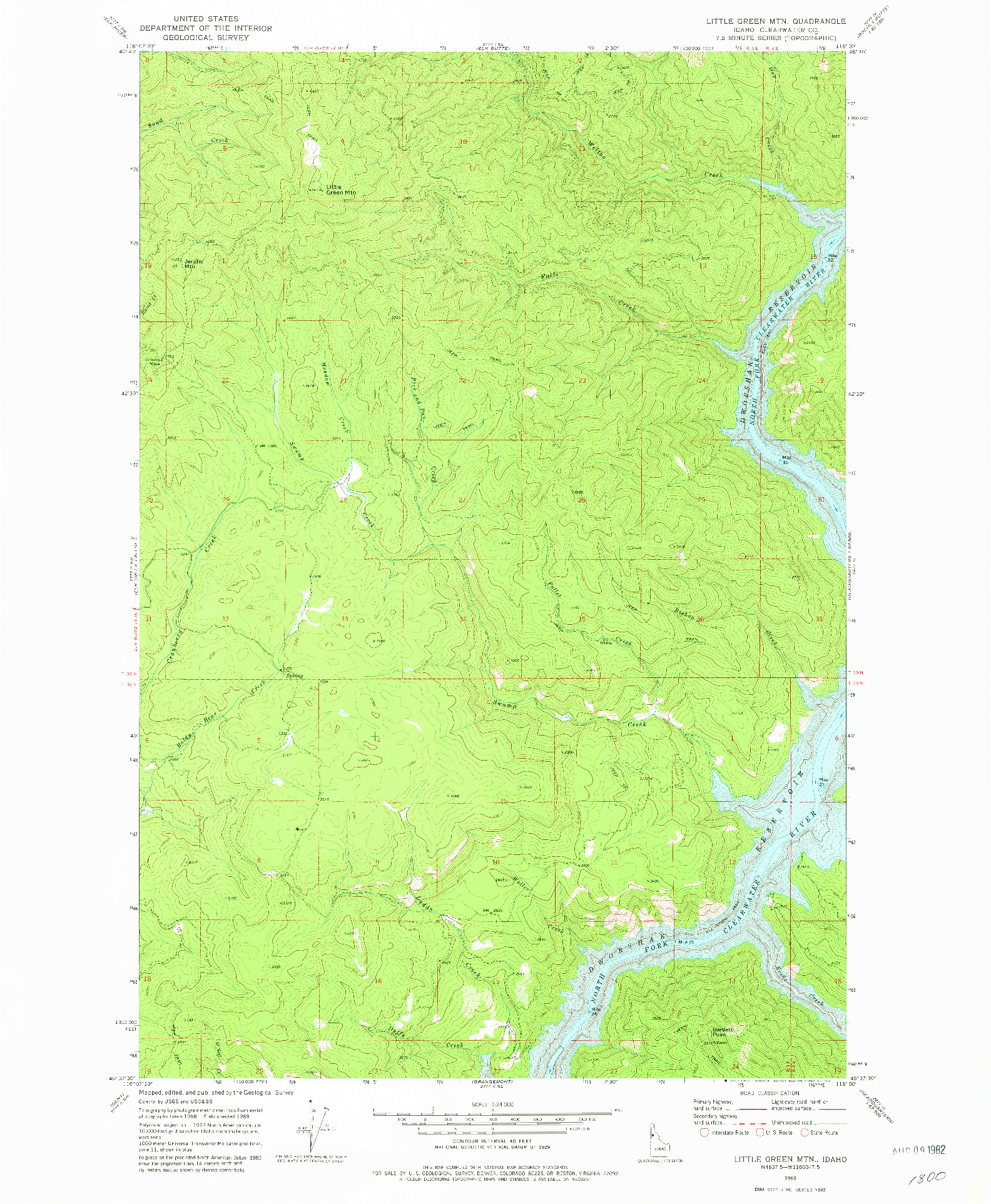 USGS 1:24000-SCALE QUADRANGLE FOR LITTLE GREEN MOUNTAIN, ID 1969