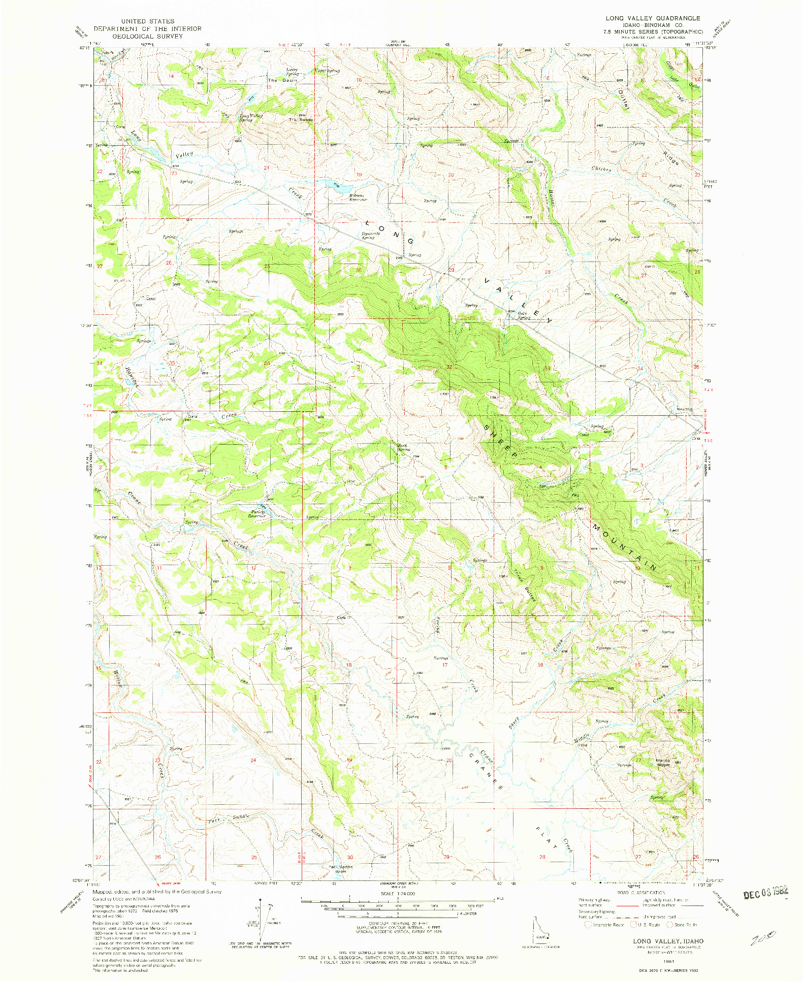 USGS 1:24000-SCALE QUADRANGLE FOR LONG VALLEY, ID 1981