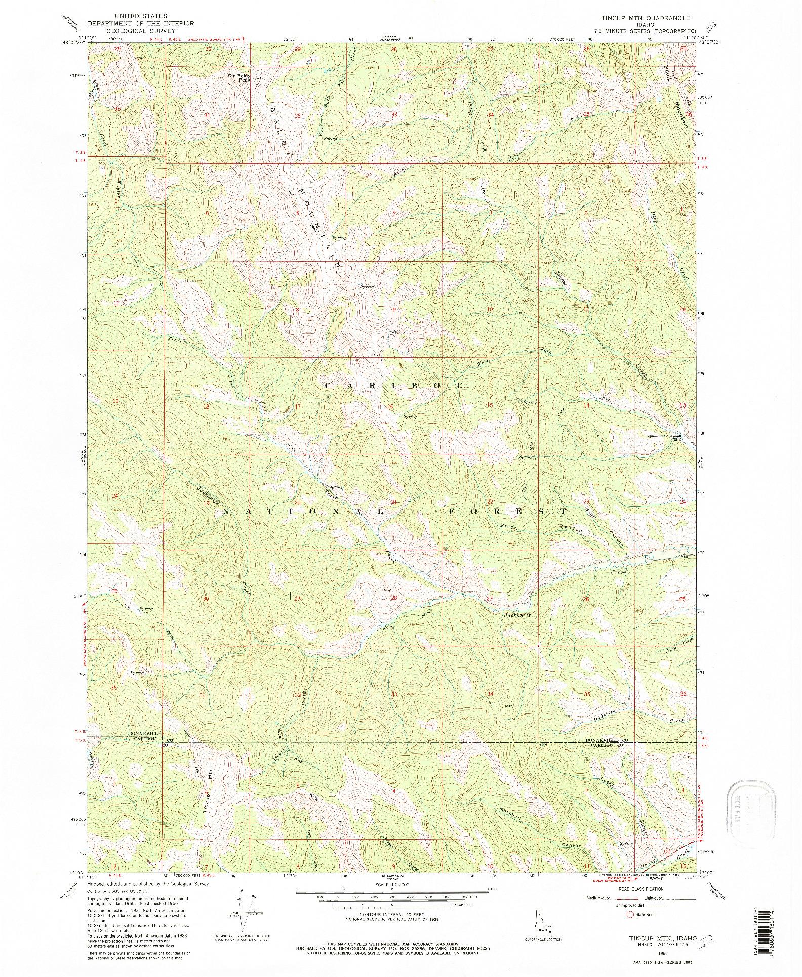 USGS 1:24000-SCALE QUADRANGLE FOR TINCUP MTN, ID 1966
